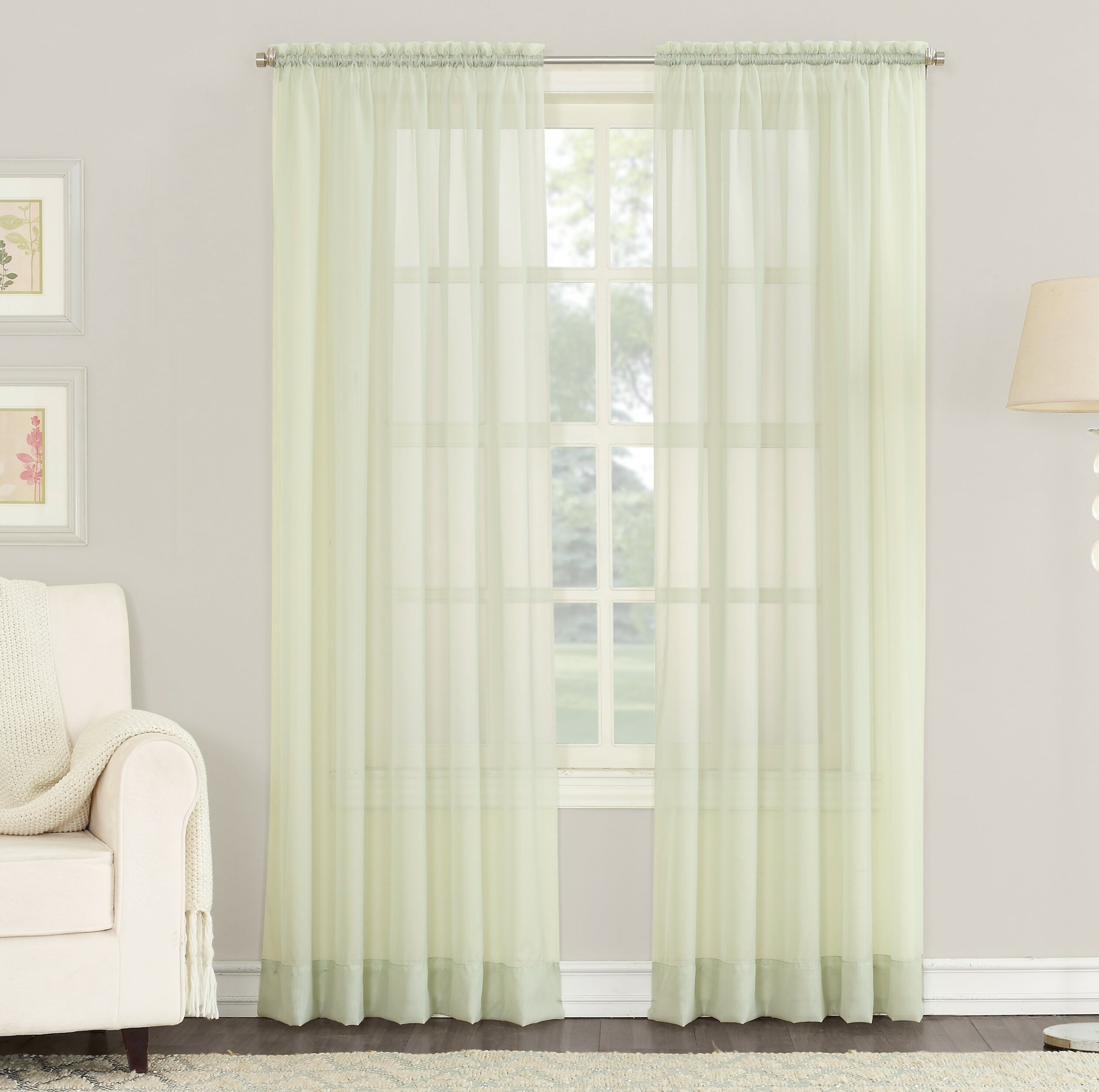 Emily Solid Color Sheer Rod Pocket Window Single Curtain Panel With Regard To Emily Sheer Voile Grommet Curtain Panels (View 14 of 20)
