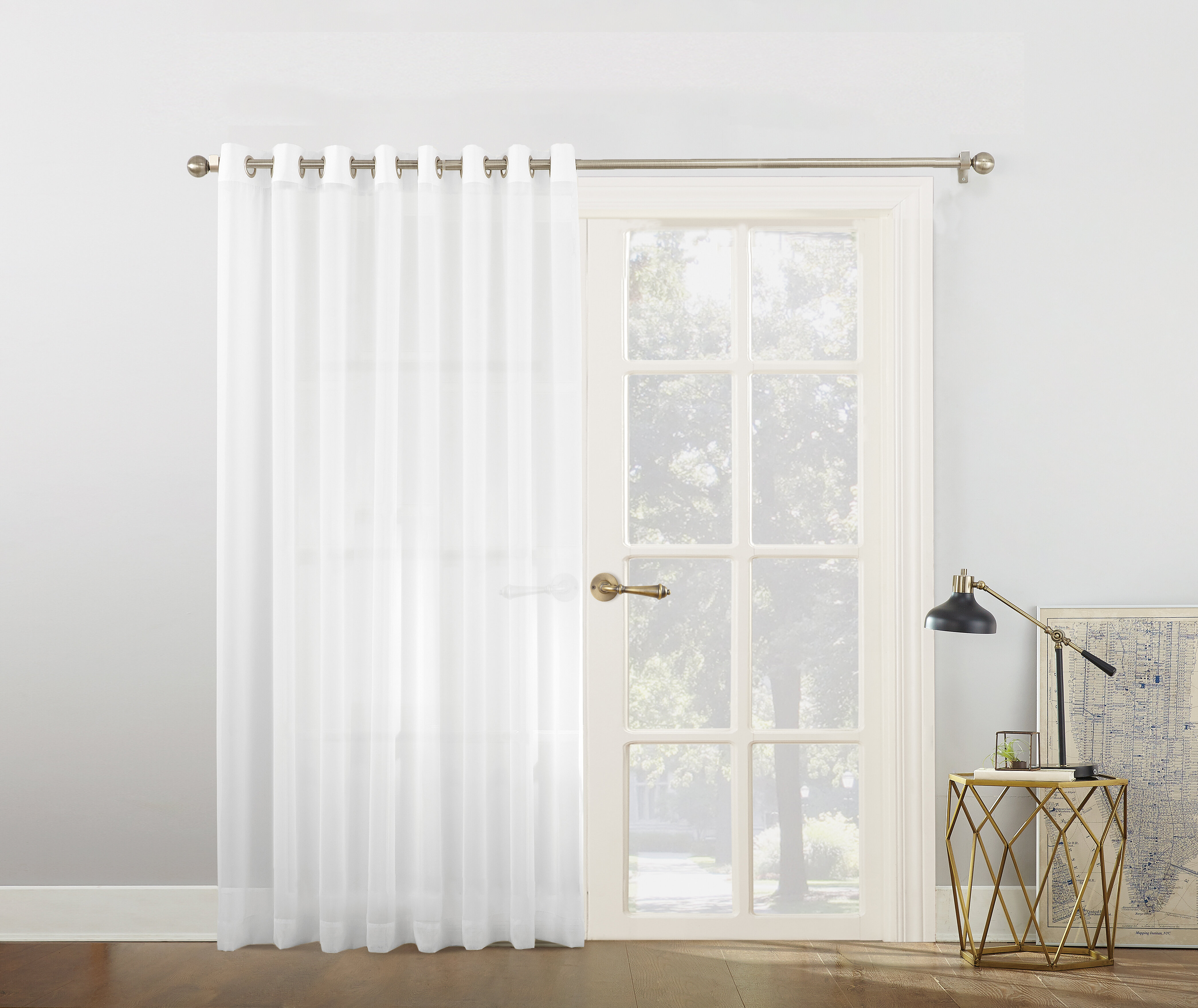 Emily Voile Sliding Door Patio Solid Semi Sheer Grommet Single Curtain Panel Intended For Emily Sheer Voile Grommet Curtain Panels (View 11 of 20)