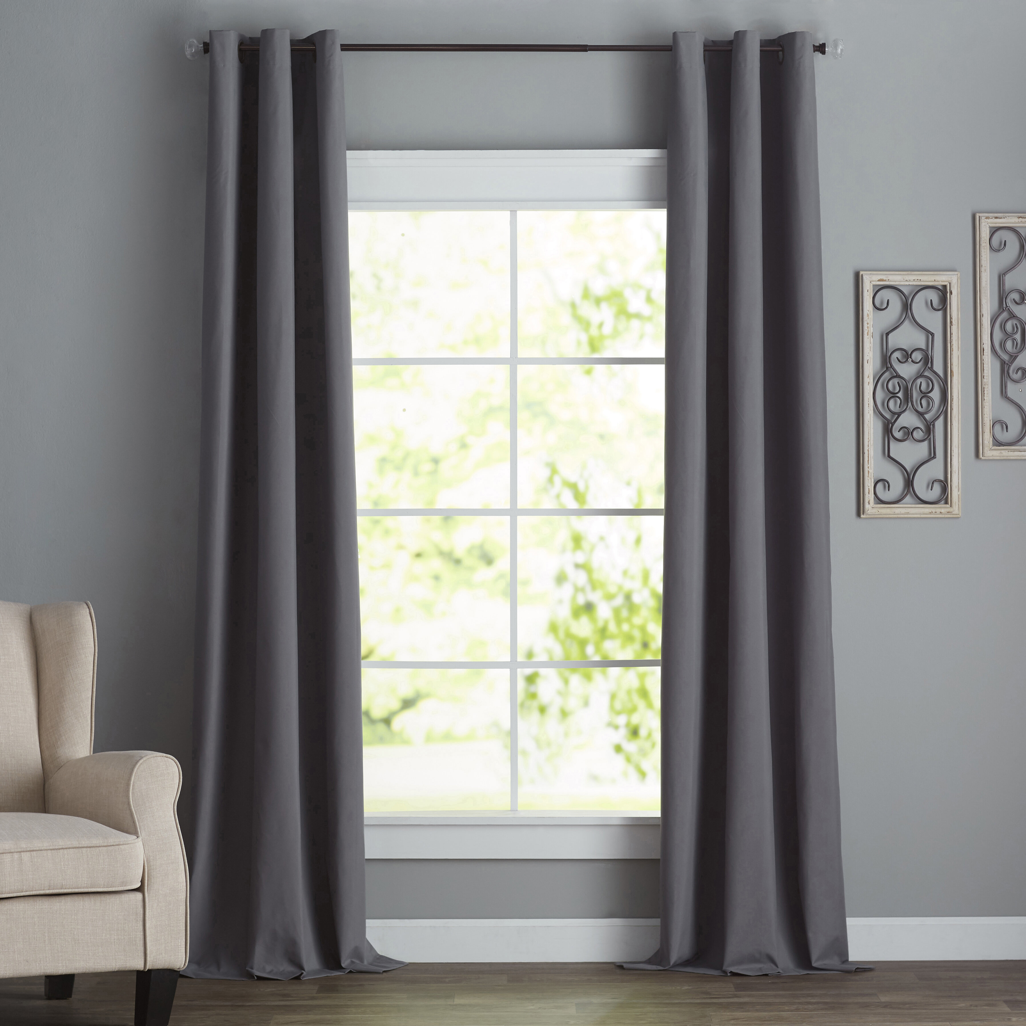 Emme Solid Blackout Thermal Grommet Single Curtain Panel Within Single Curtain Panels (View 10 of 31)
