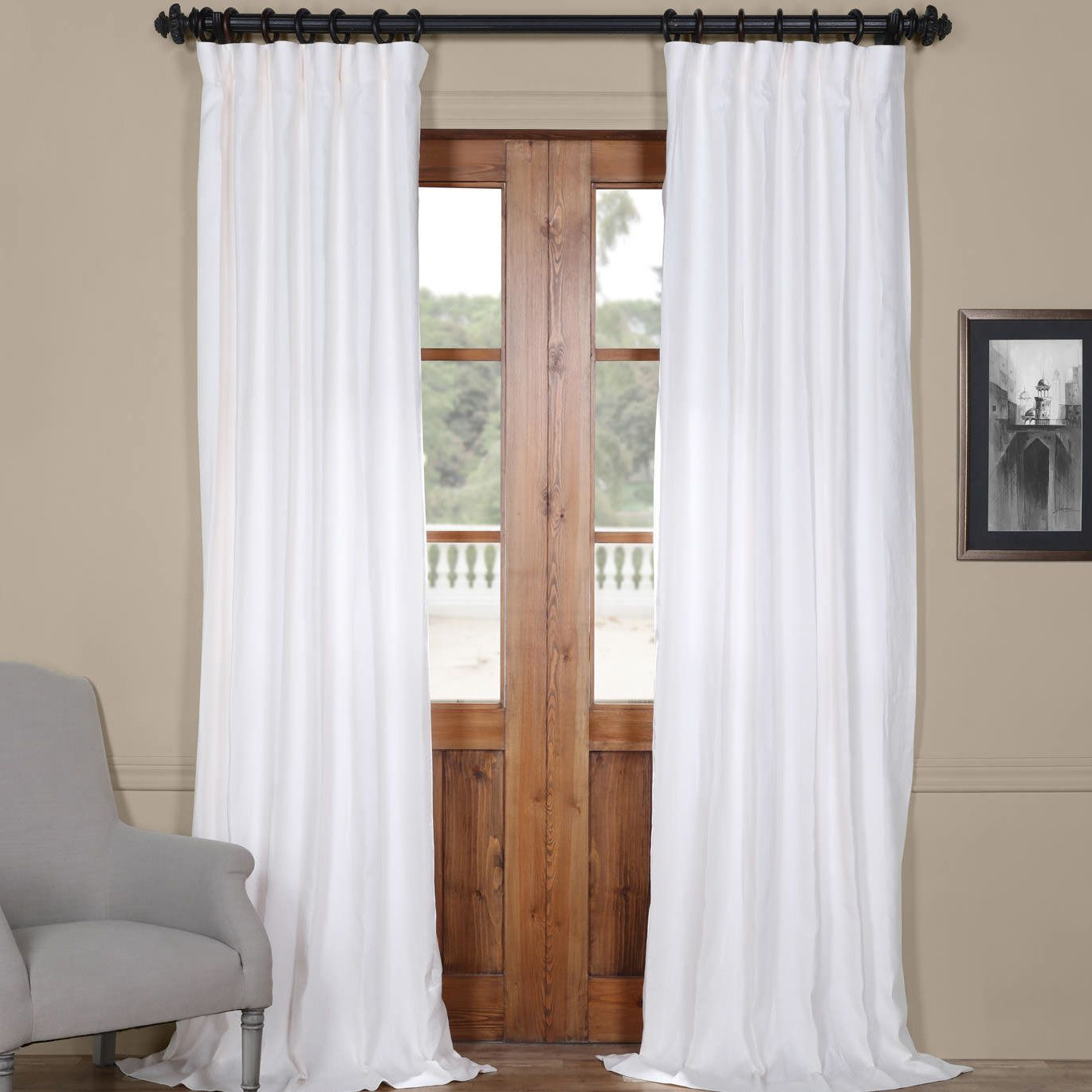 Ennis Linen Rod Pocket Single Curtain Panel | Designed In Regarding Signature White Double Layer Sheer Curtain Panels (View 4 of 30)