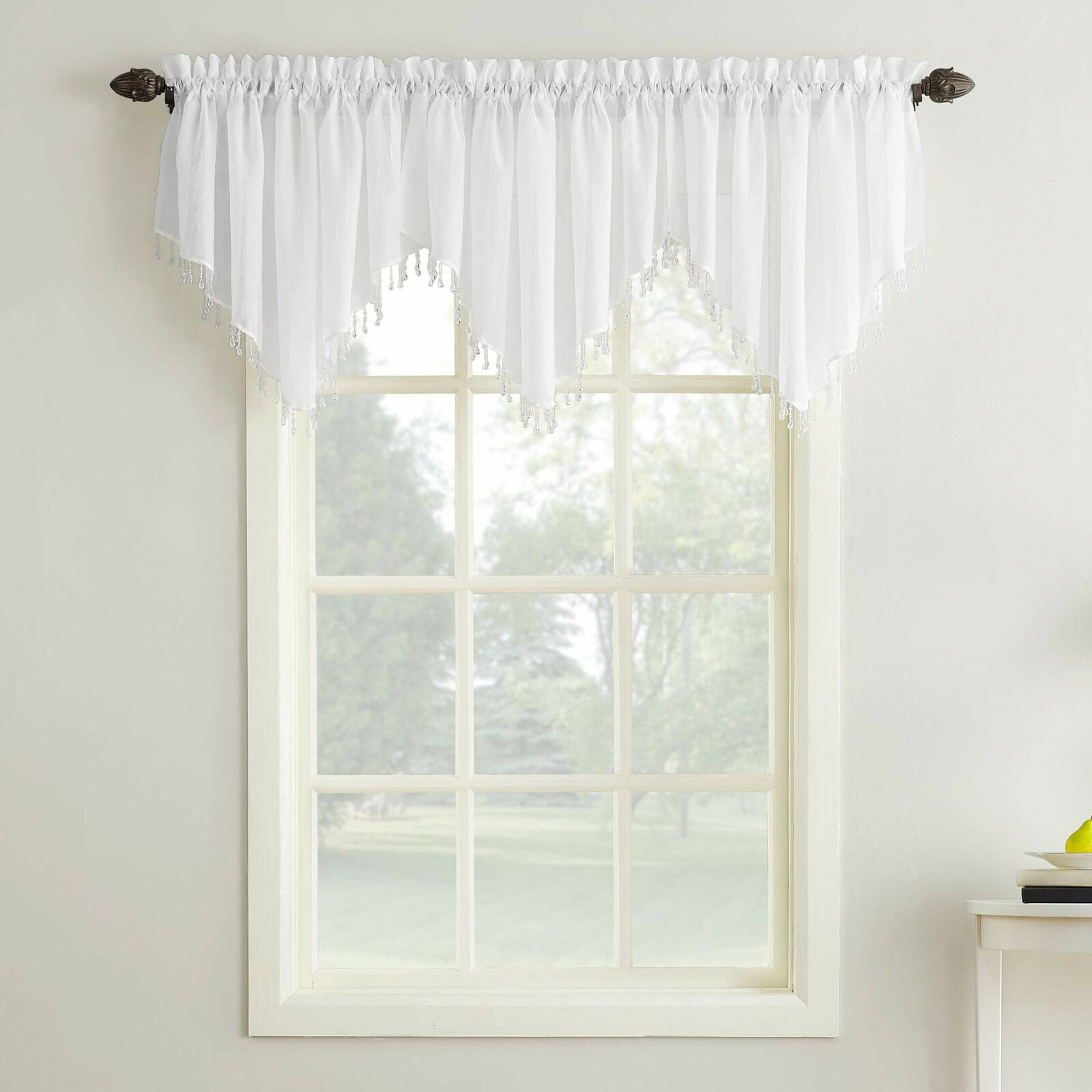 Erica Crushed Sheer Voile Ascot Beaded Curtain Valance 51 X 24 White For Erica Crushed Sheer Voile Grommet Curtain Panels (View 10 of 20)