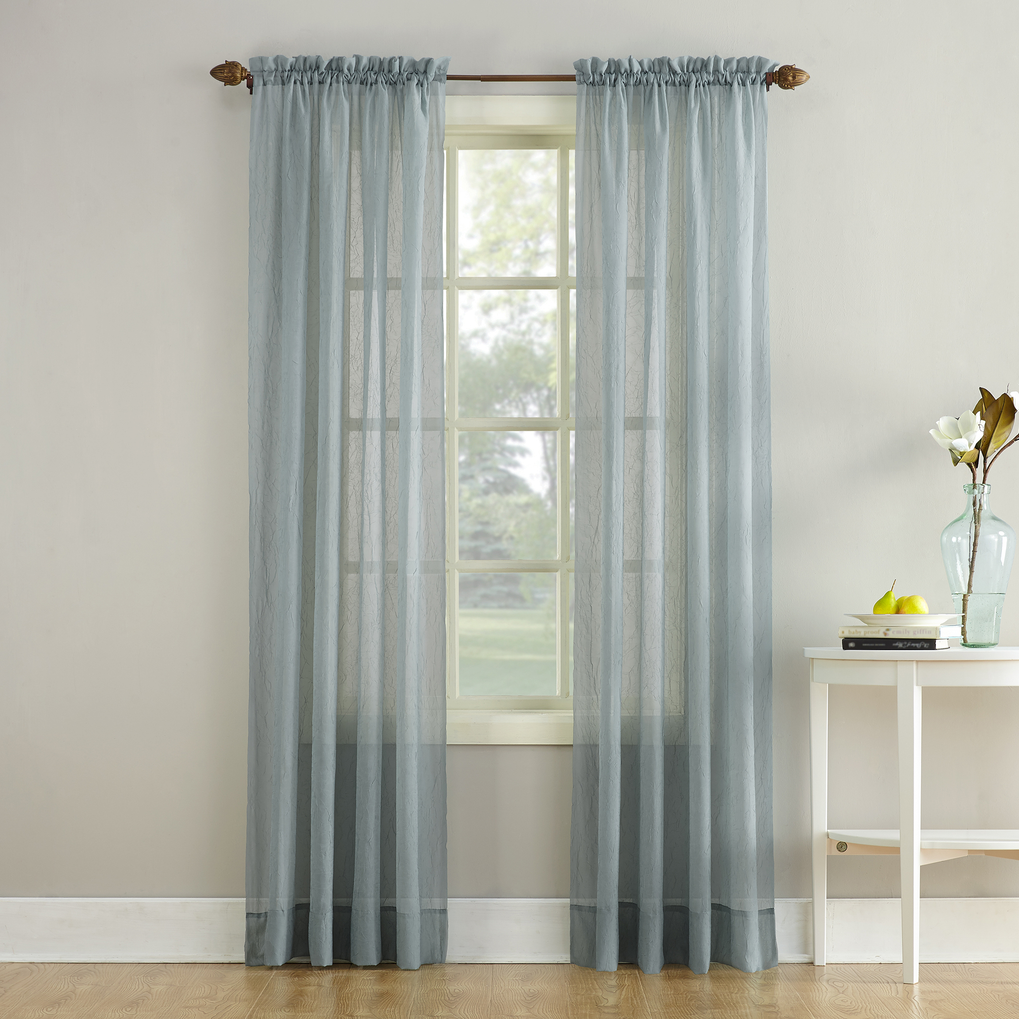Erica Crushed Sheer Voile Rod Pocket Curtain Panel Charcoal Regarding Erica Crushed Sheer Voile Grommet Curtain Panels (View 6 of 20)