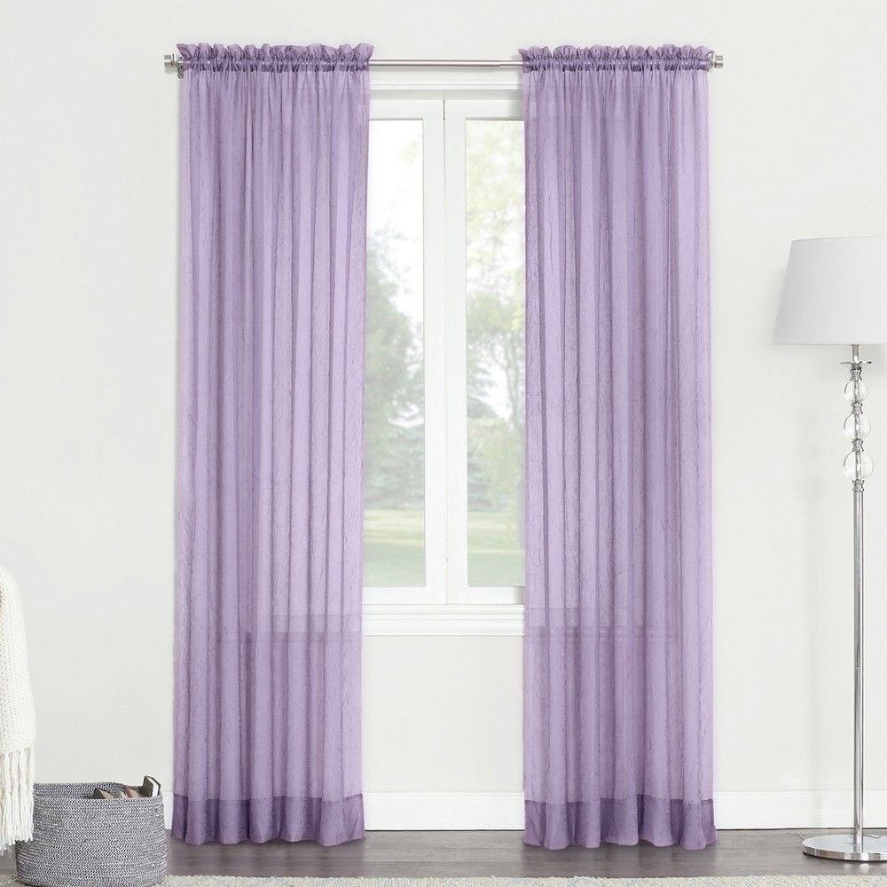 Erica Crushed Sheer Voile Rod Pocket Curtain Panel Lavender With Regard To Erica Sheer Crushed Voile Single Curtain Panels (View 2 of 20)