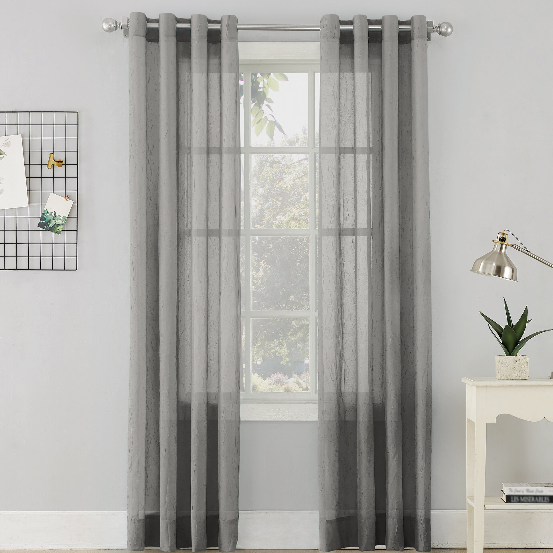 Erica Sheer Grommet Single Curtain Panel Pertaining To Andorra Watercolor Floral Textured Sheer Single Curtain Panels (View 11 of 20)