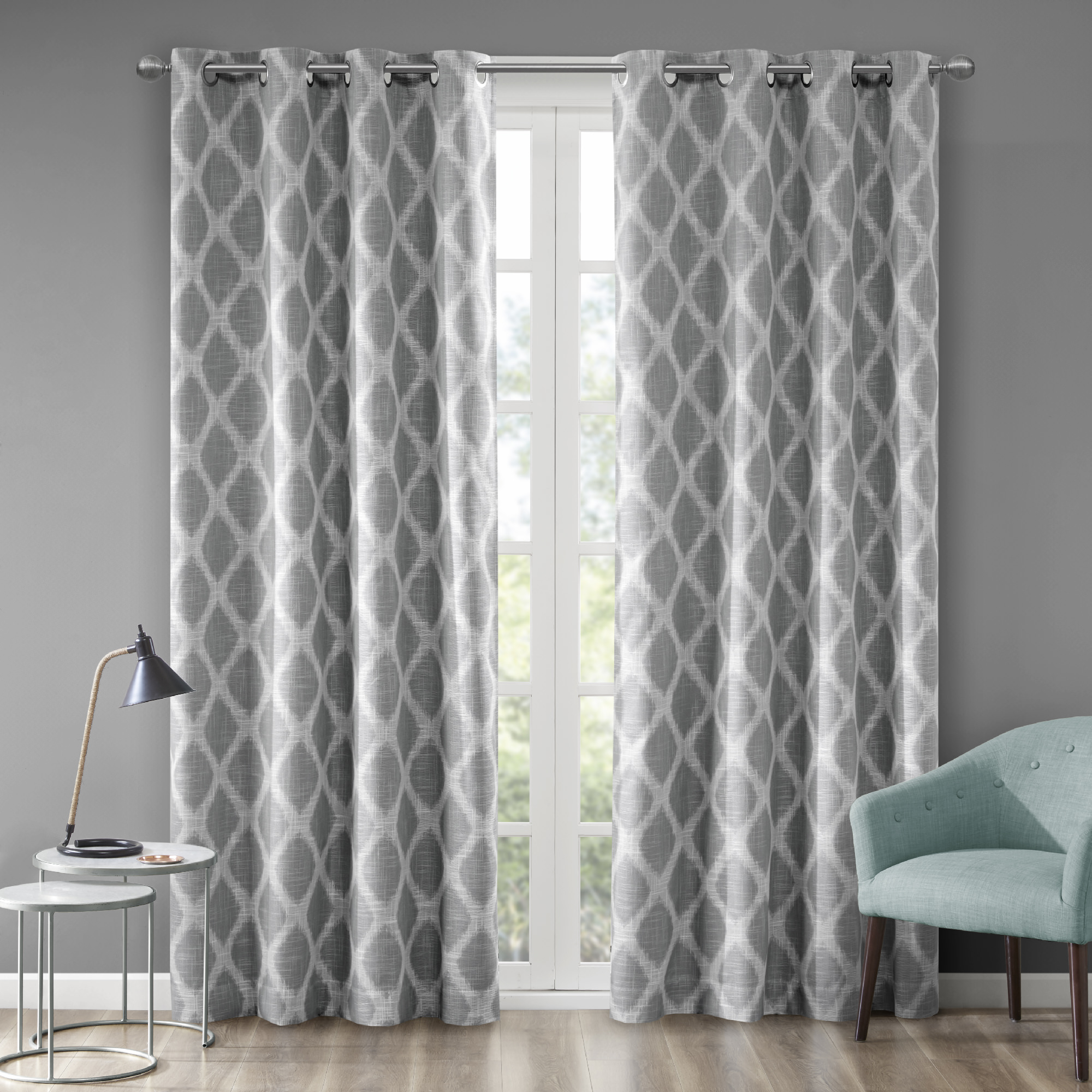 """Etro Printed Ikat Blackout Curtain Panel Gray 50""""x63 For Grey Printed Curtain Panels (View 20 of 20)"""