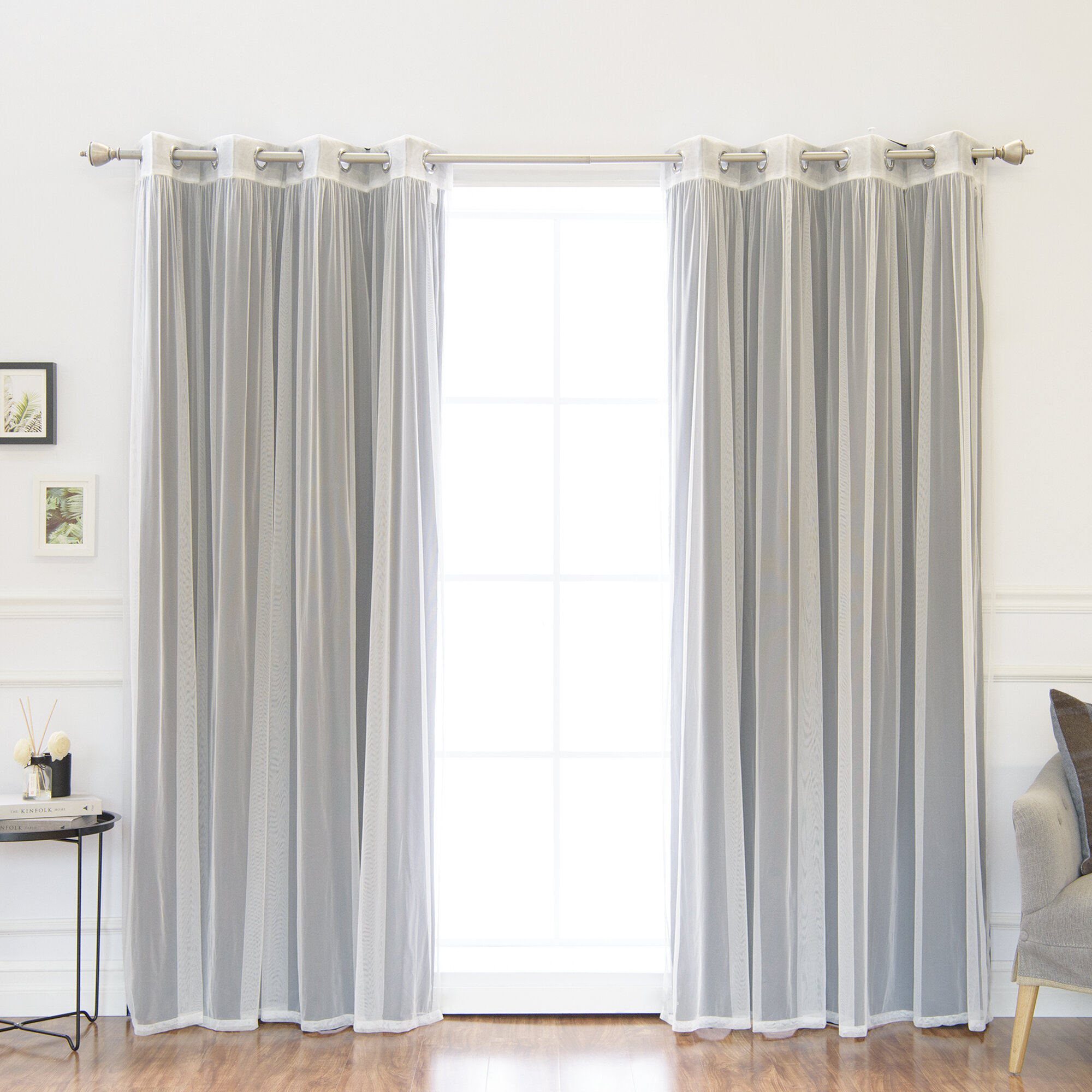 Evangelista Tulle Solid Blackout Thermal Grommet Panel Pair With Regard To Tulle Sheer With Attached Valance And Blackout 4 Piece Curtain Panel Pairs (View 10 of 30)