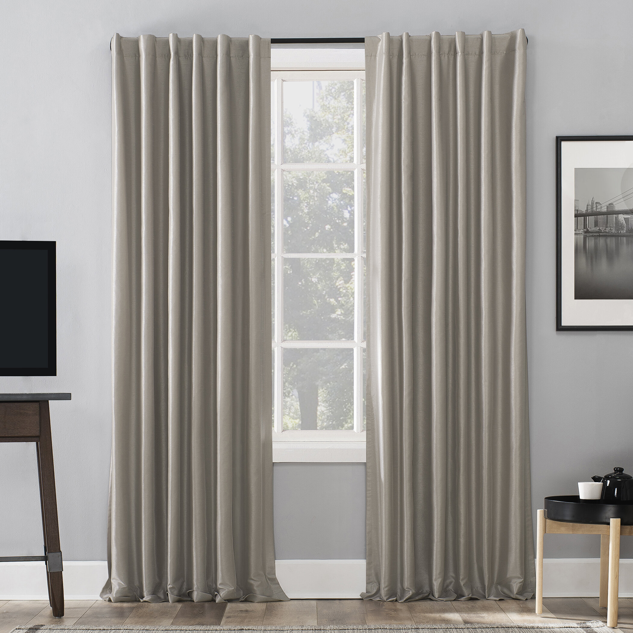 Featured Photo of Evelina Faux Dupioni Silk Extreme Blackout Back Tab Curtain Panels