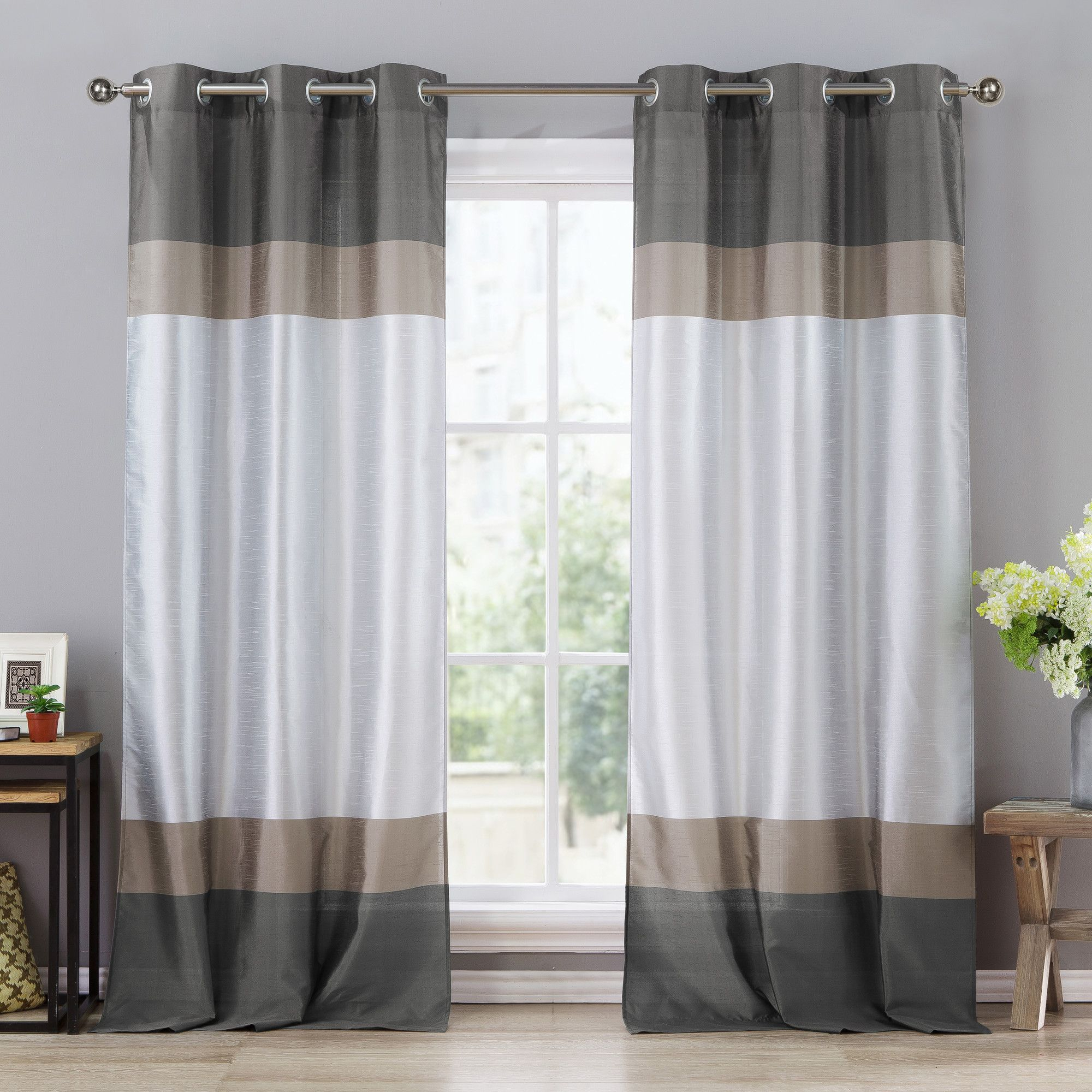 Everson Grommet Curtain Panel | Curtains | Pinterest With Chester Polyoni Pintuck Curtain Panels (View 1 of 20)