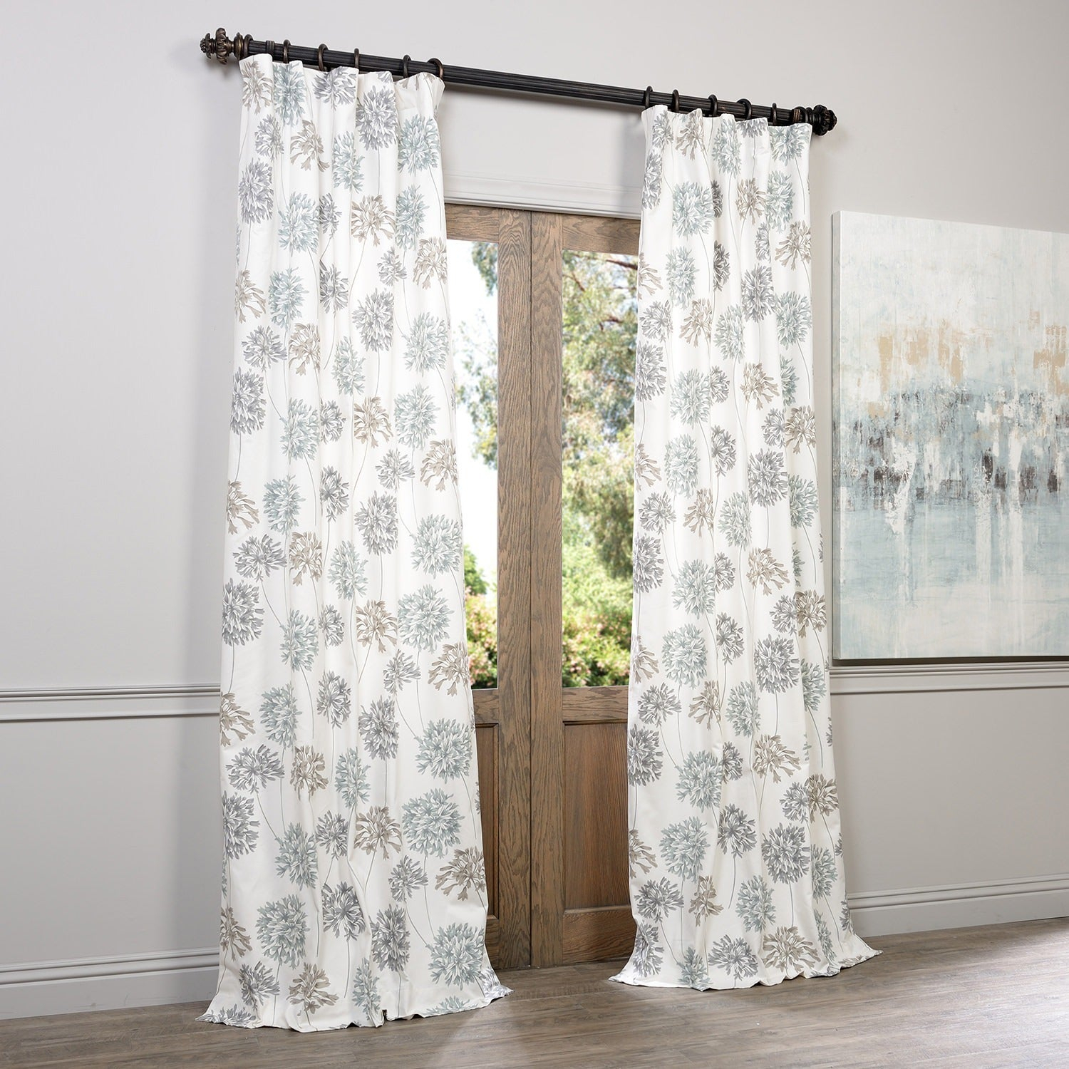 Exclusive Fabrics Allium Blue And Grey Printed Cotton Curtain Panel In Grey Printed Curtain Panels (View 7 of 20)