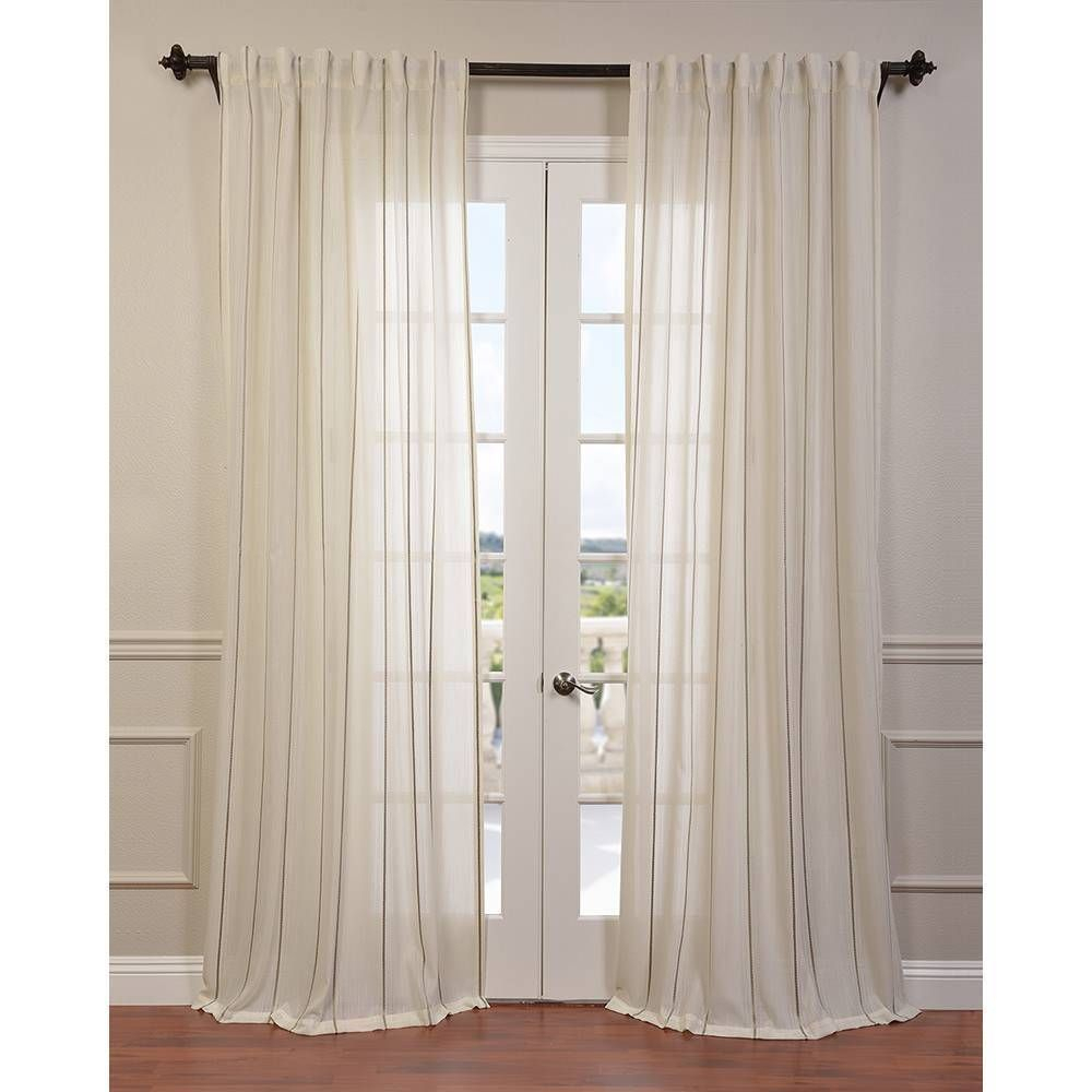 Exclusive Fabrics Aruba Striped Linen Sheer Curtain Panel In regarding Luxury Collection Venetian Sheer Curtain Panel Pairs (Image 10 of 20)