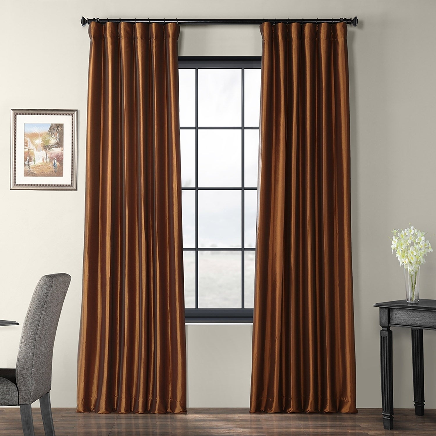 Exclusive Fabrics Copper Brown Faux Silk Taffeta Curtain Panel Inside Luxury Collection Faux Leather Blackout Single Curtain Panels (View 4 of 20)