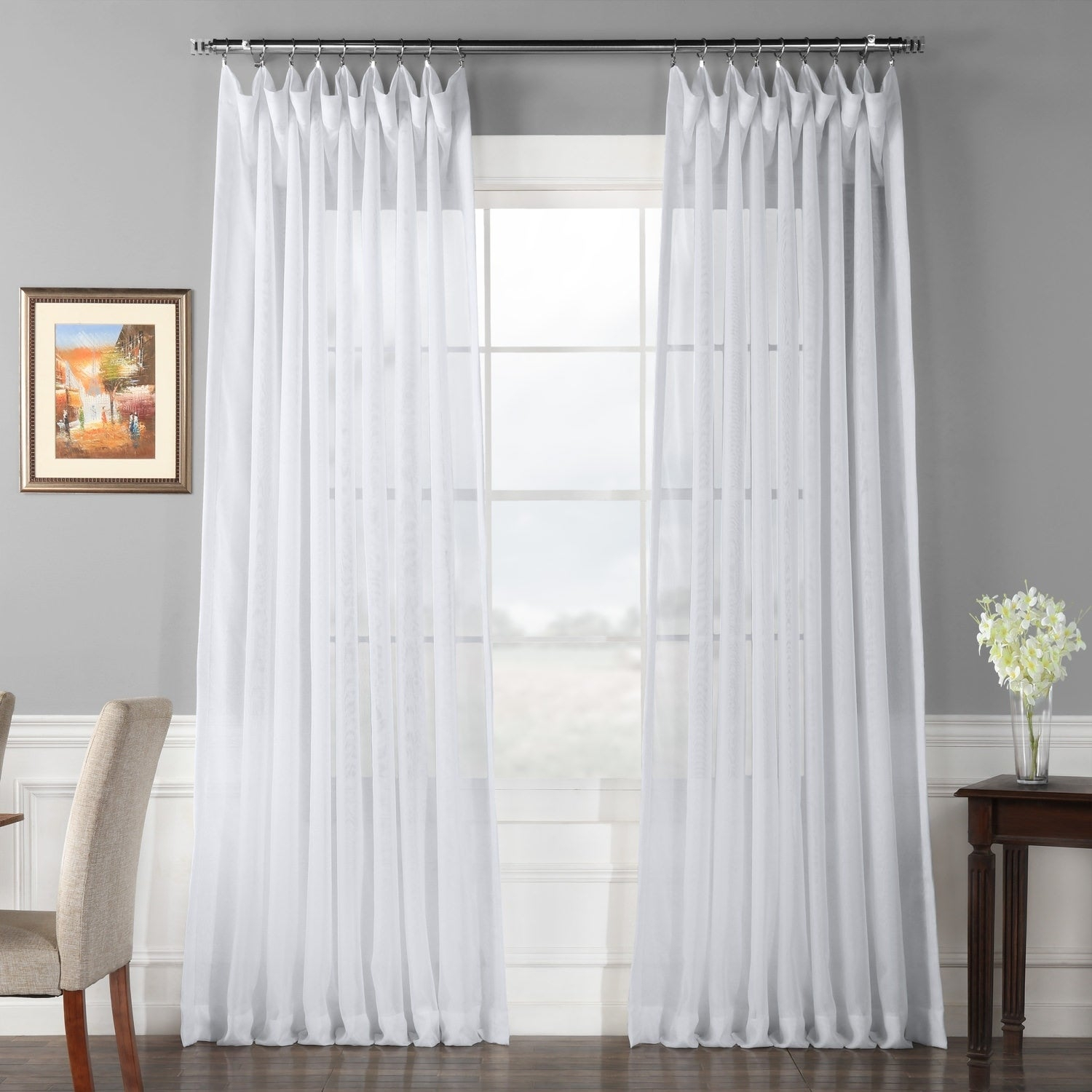 Exclusive Fabrics Double Layer Sheer White Single Curtain Panel Within Single Curtain Panels (View 2 of 31)
