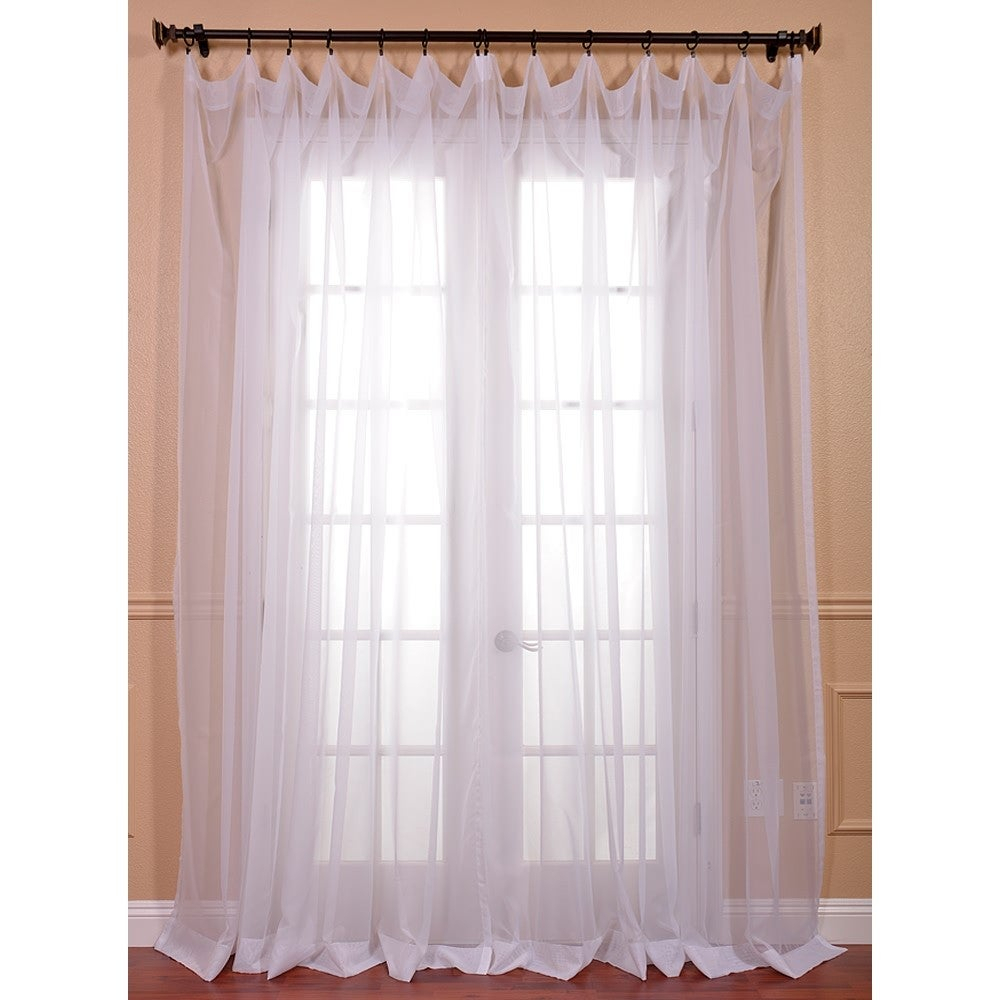 "Exclusive Fabrics Extra Wide White Poly Voile Sheer Curtain Panel 96"" L (As Is Item) With Extra Wide White Voile Sheer Curtain Panels (View 6 of 20)"