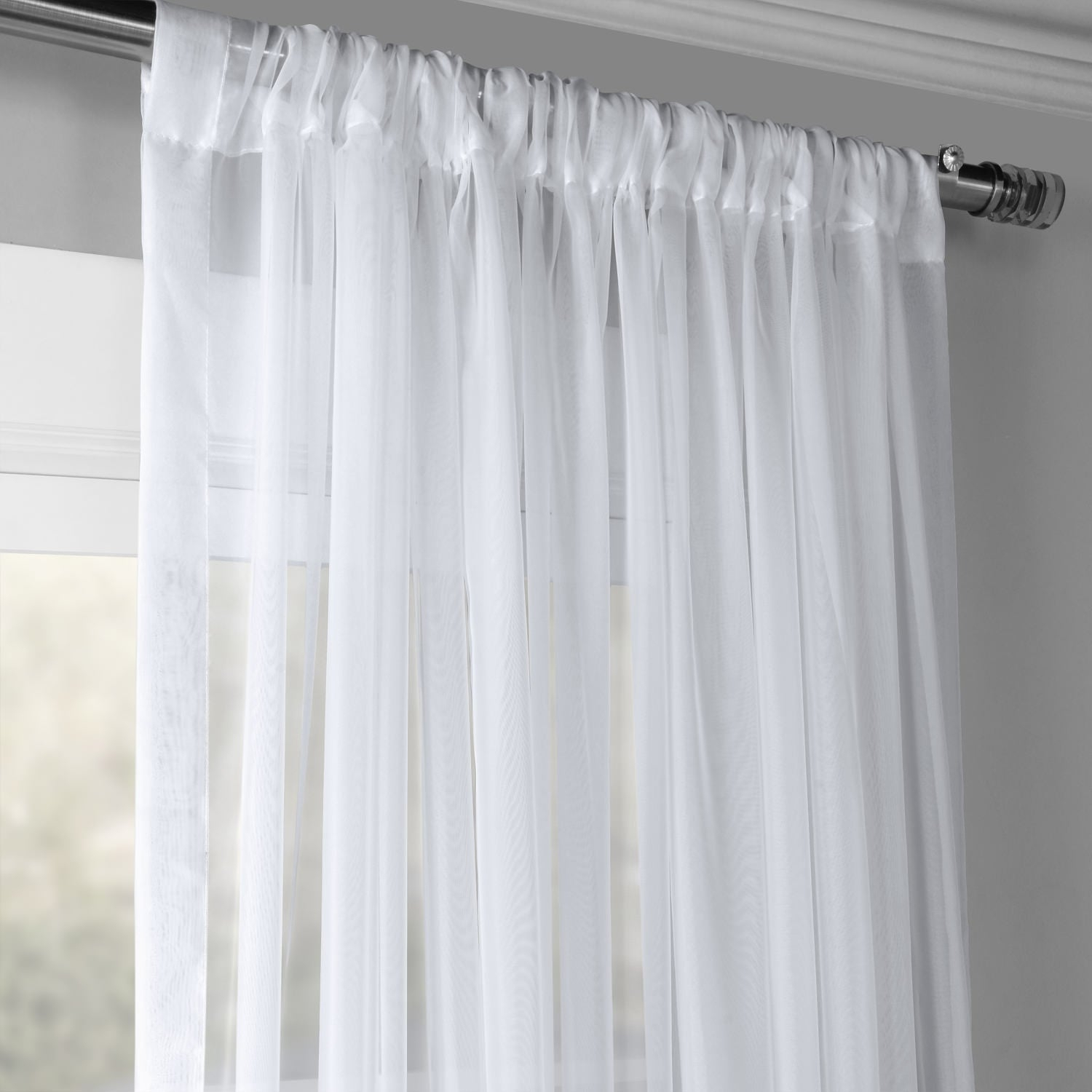 Exclusive Fabrics Extra Wide White Voile Sheer Curtain Panel In Extra Wide White Voile Sheer Curtain Panels (View 2 of 20)