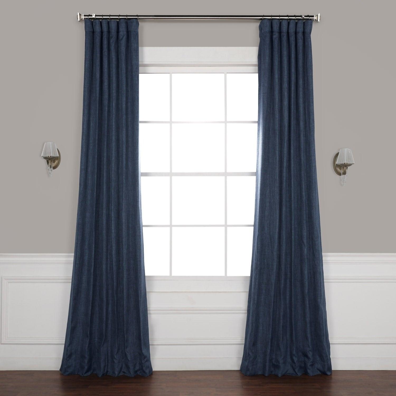 Exclusive Fabrics Faux Linen Blackout Curtain Inside Faux Linen Extra Wide Blackout Curtains (View 10 of 20)
