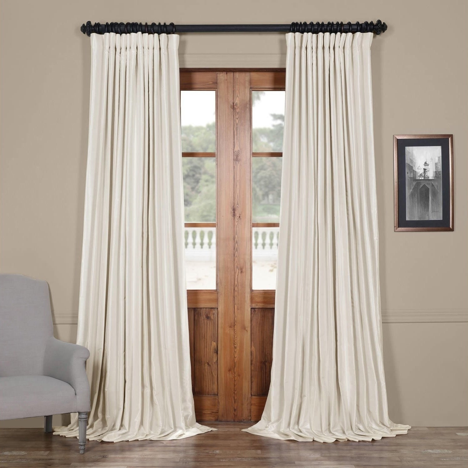 Exclusive Fabrics Faux Silk Extra Wide Blackout Single Curtain Panel Inside Faux Linen Extra Wide Blackout Curtains (View 7 of 20)