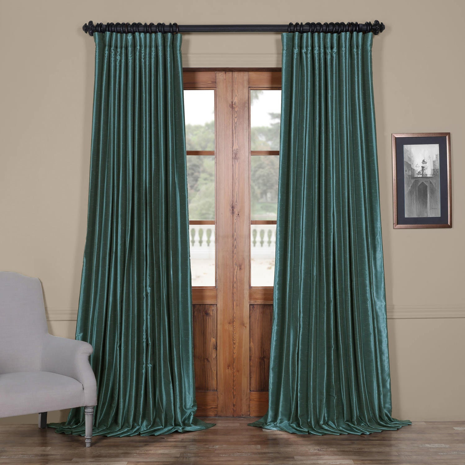 Exclusive Fabrics Faux Silk Extra Wide Blackout Single Curtain Panel Pertaining To Faux Silk Extra Wide Blackout Single Curtain Panels (View 2 of 20)