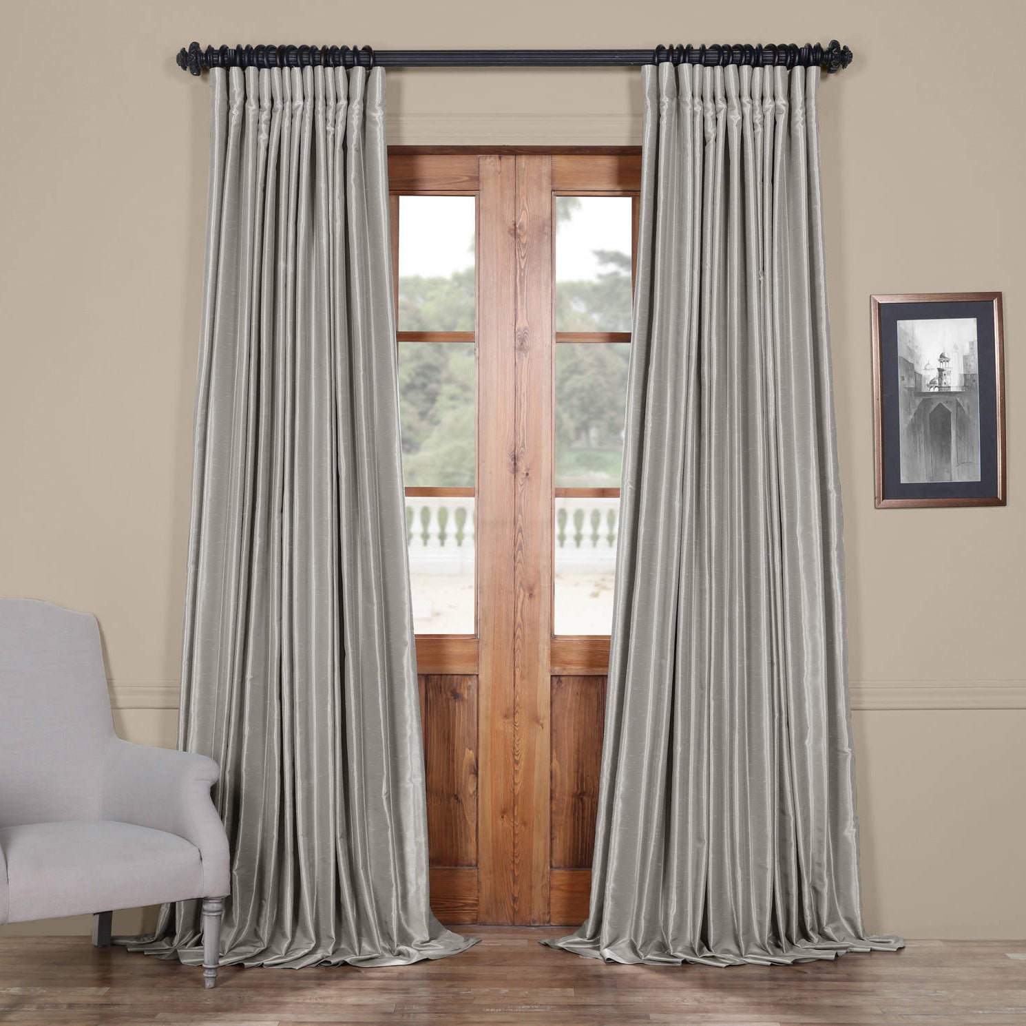 Exclusive Fabrics Faux Silk Extra Wide Blackout Single Curtain Panel Throughout Faux Silk Extra Wide Blackout Single Curtain Panels (View 3 of 20)