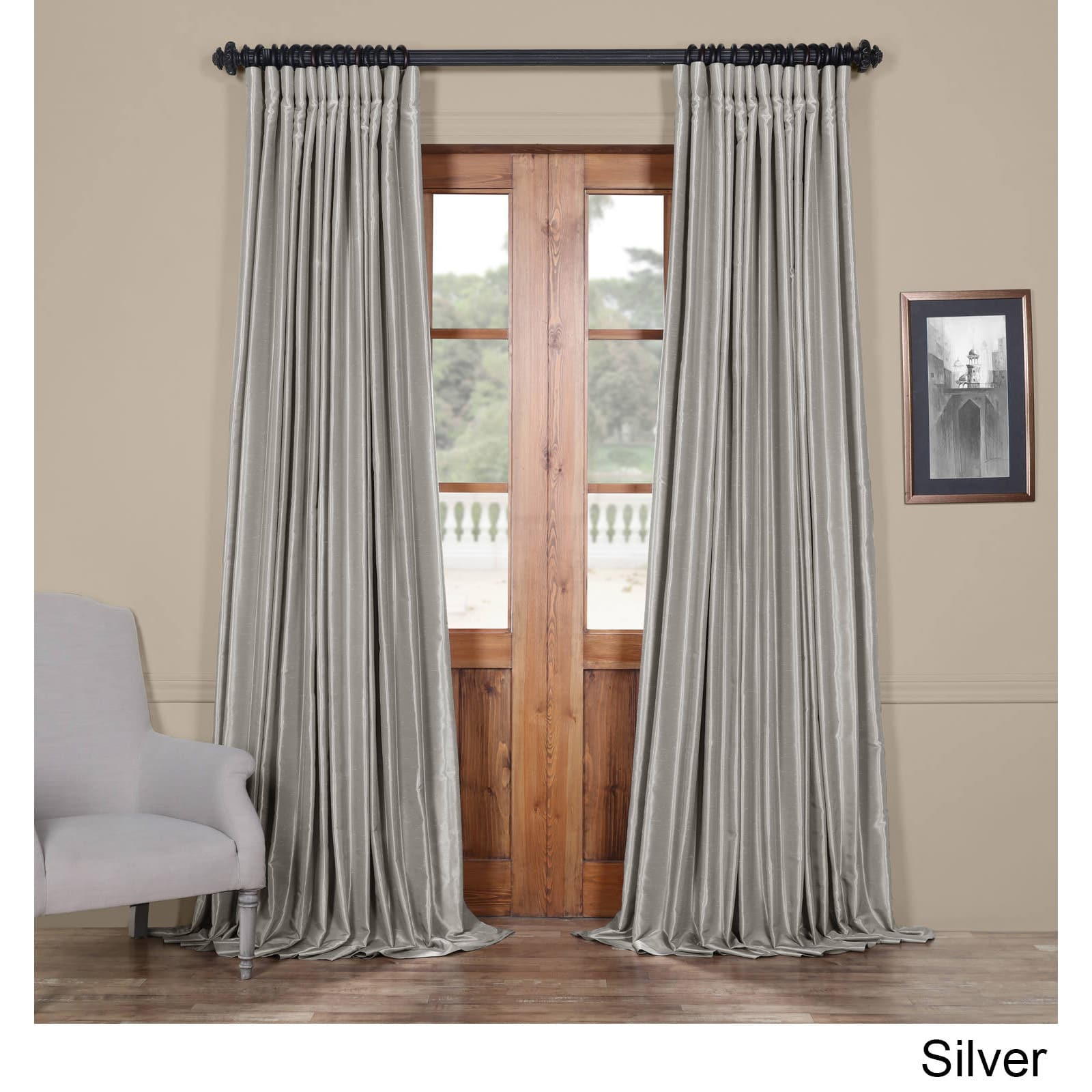 Exclusive Fabrics Faux Silk Extra Wide Blackout Single Within Ice White Vintage Faux Textured Silk Curtain Panels (View 9 of 20)