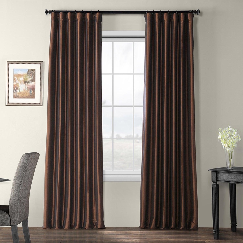 Exclusive Fabrics Faux Silk Taffeta 96 Inch Blackout Curtain Panel For Faux Silk Taffeta Solid Blackout Single Curtain Panels (View 2 of 20)