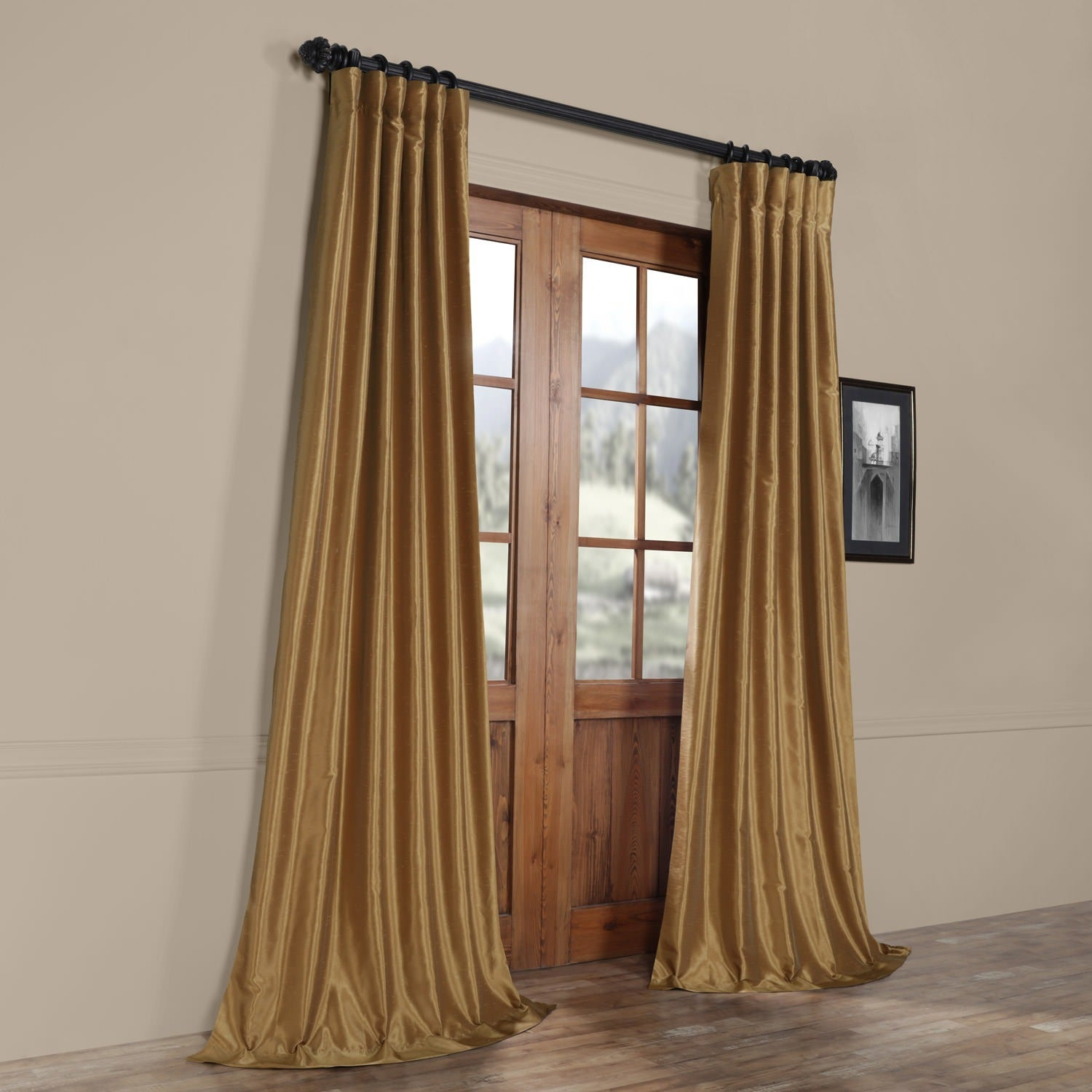 """Exclusive Fabrics Flax Gold Vintage Faux Textured Dupioni Silk Single Curtain Panel 108"""" (as Is Item) Intended For Vintage Faux Textured Dupioni Silk Curtain Panels (View 4 of 30)"""