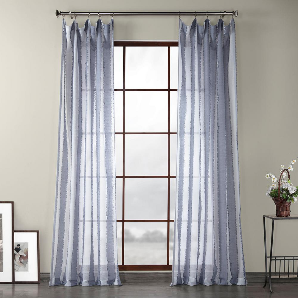 Exclusive Fabrics & Furnishings Antares Blue Patterned Linen Sheer Curtain – 50 In. W X 96 In (View 8 of 20)