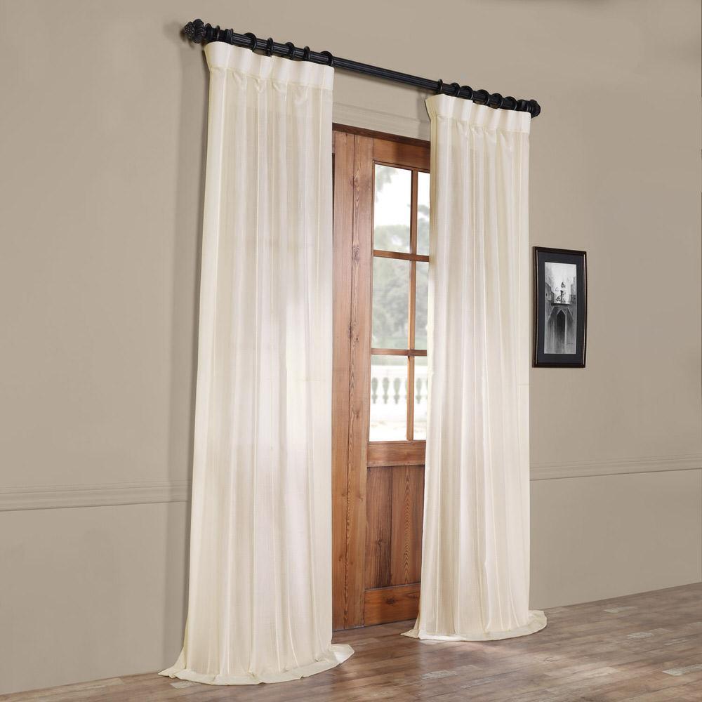 Exclusive Fabrics & Furnishings Aruba White Striped Linen Sheer Curtain – 50 In. W X 108 In (View 22 of 30)