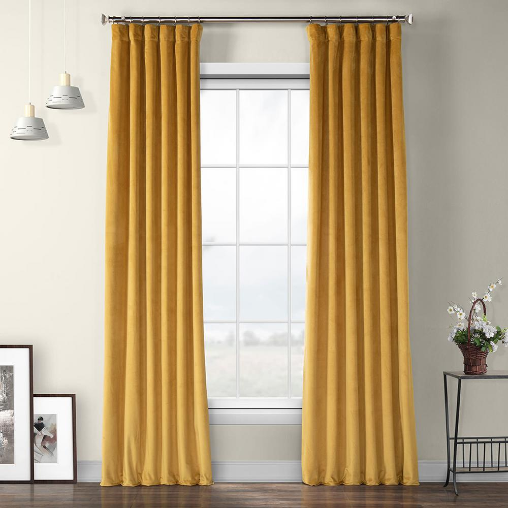 Exclusive Fabrics & Furnishings Aztec Gold Heritage Plush Velvet Curtain – 50 In. W X 84 In (View 2 of 20)