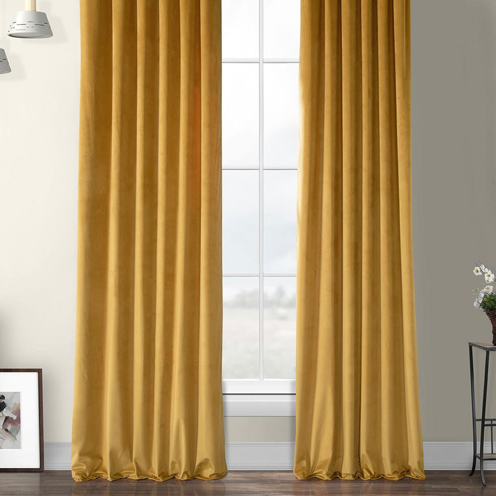 Exclusive Fabrics & Furnishings Aztec Gold Heritage Plush Velvet Curtain – 50 In. W X 84 In (View 19 of 20)