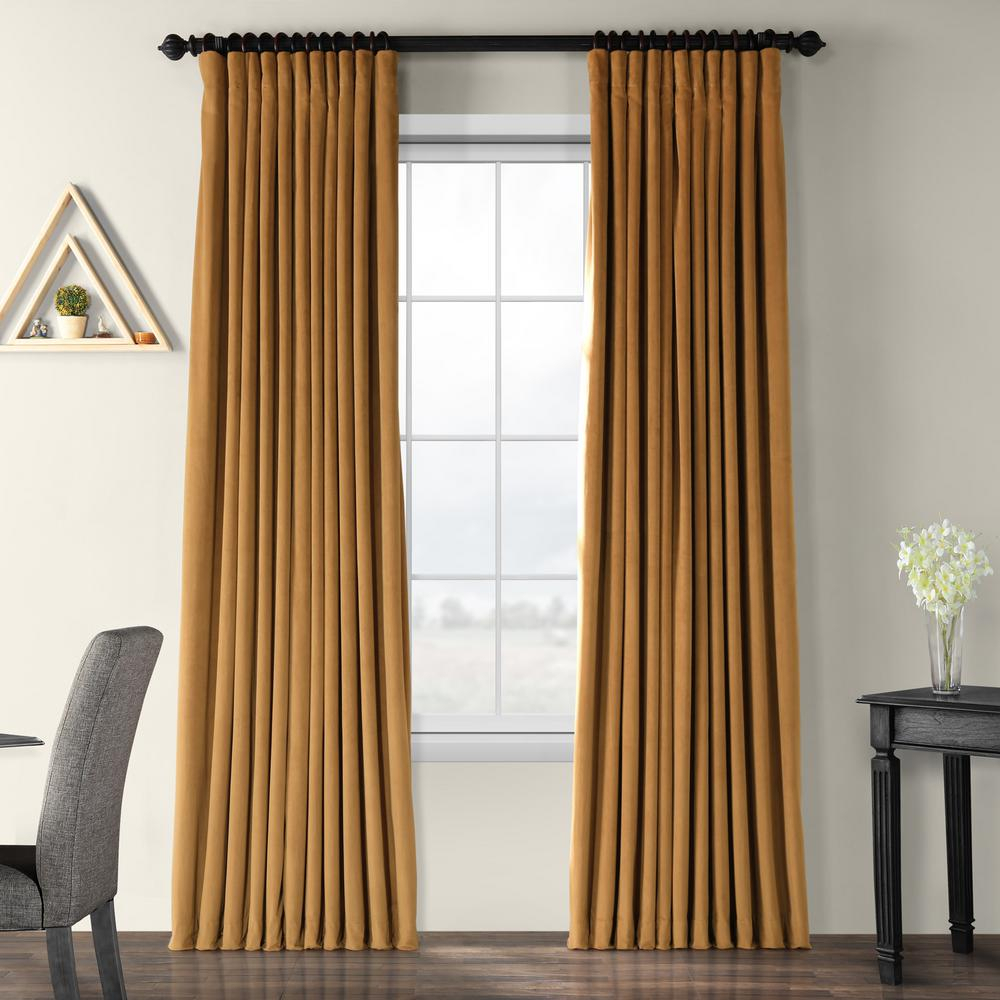 Exclusive Fabrics & Furnishings Blackout Signature Amber Gold Doublewide Blackout Velvet Curtain – 100 In. W X 84 In (View 6 of 20)