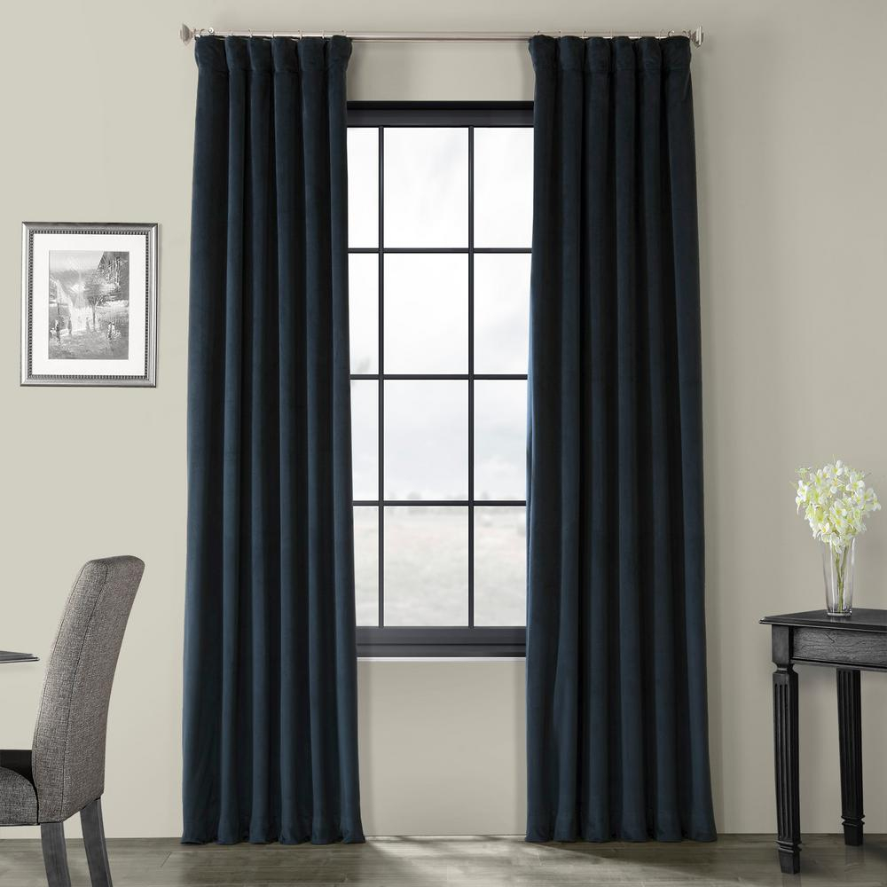 Exclusive Fabrics & Furnishings Blackout Signature Midnight Blue Blackout Velvet Curtain – 50 In. W X 84 In (View 7 of 34)
