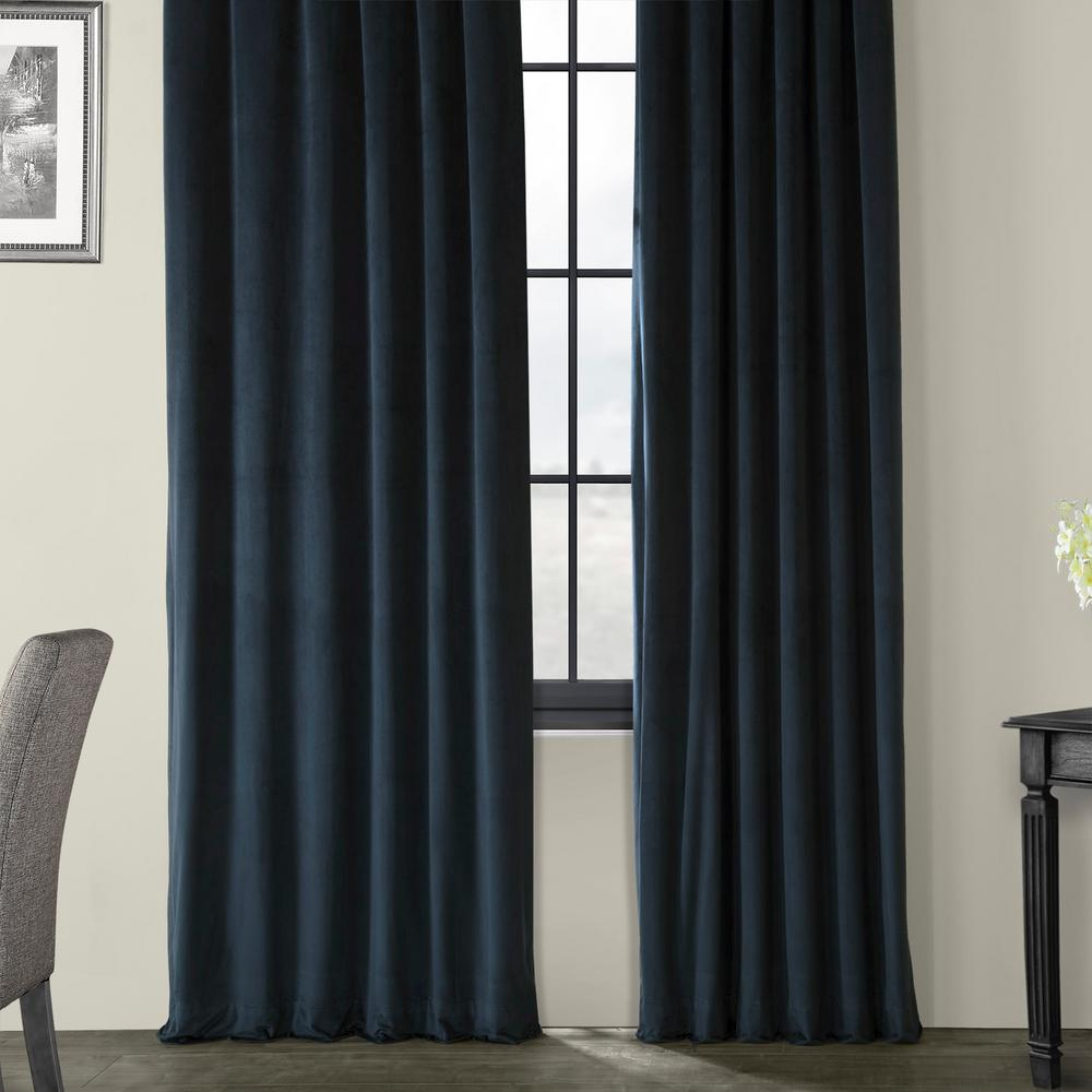 Exclusive Fabrics & Furnishings Blackout Signature Midnight Blue Blackout Velvet Curtain – 50 In. W X 84 In (View 8 of 34)