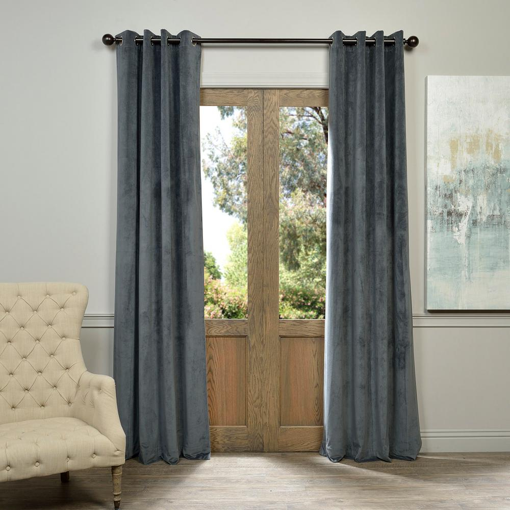 Exclusive Fabrics & Furnishings Blackout Signature Natural Grey Grommet Blackout Velvet Curtain – 50 In. W X 84 In (View 9 of 34)