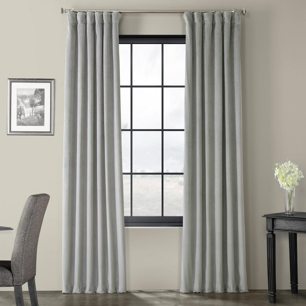 Exclusive Fabrics & Furnishings Blackout Signature Silver Grey Blackout Velvet Curtain – 50 In. W X 96 In (View 1 of 20)