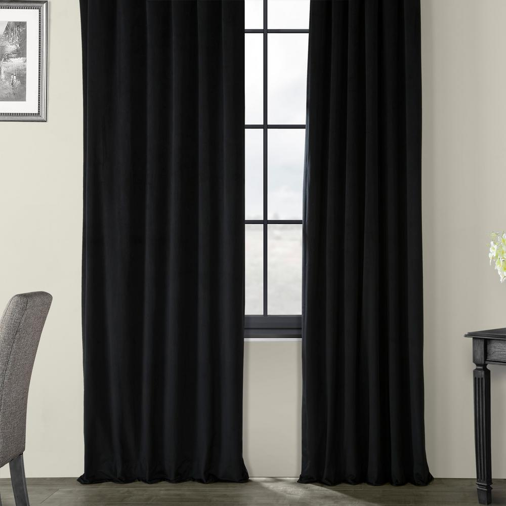 Exclusive Fabrics & Furnishings Blackout Signature Warm Black Blackout Velvet Curtain – 50 In. W X 120 In (View 4 of 30)