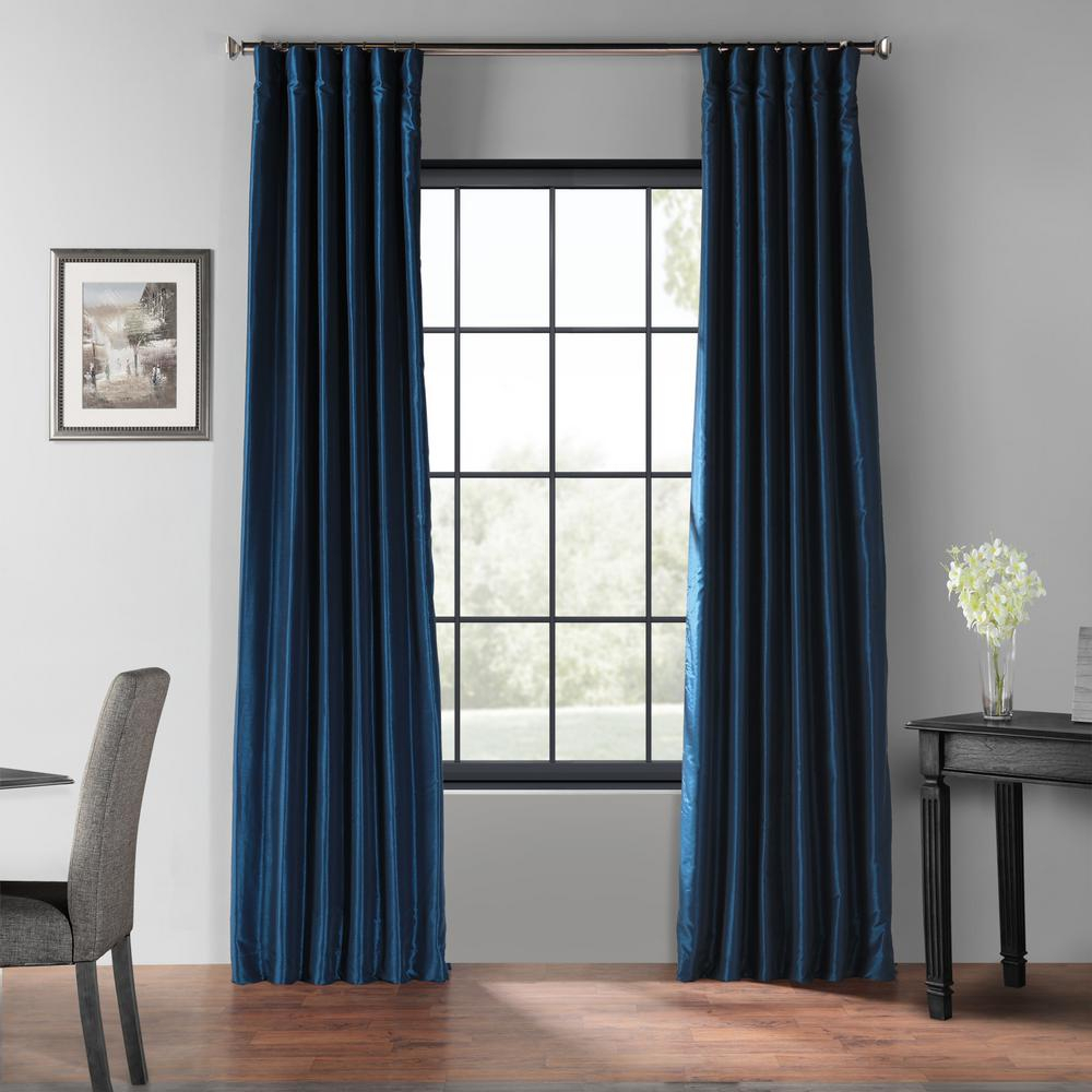 Exclusive Fabrics & Furnishings Captain's Blue Blackout Vintage Textured Faux Dupioni Silk Curtain – 50 In. W X 84 In (View 5 of 30)