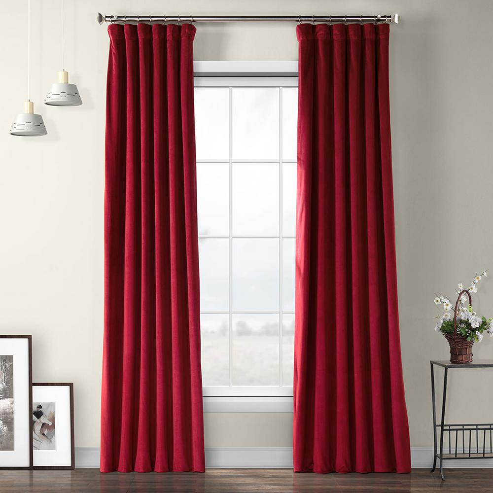 Exclusive Fabrics & Furnishings Cinema Red Heritage Plush Velvet Curtain – 50 In. W X 108 In (View 3 of 20)