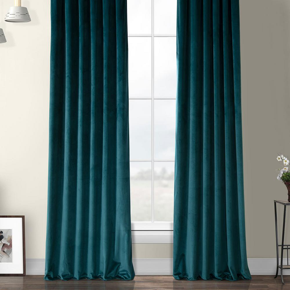 Exclusive Fabrics & Furnishings Deep Sea Teal Blue Heritage Plush Velvet Curtain – 50 In. W X 96 In (View 12 of 20)