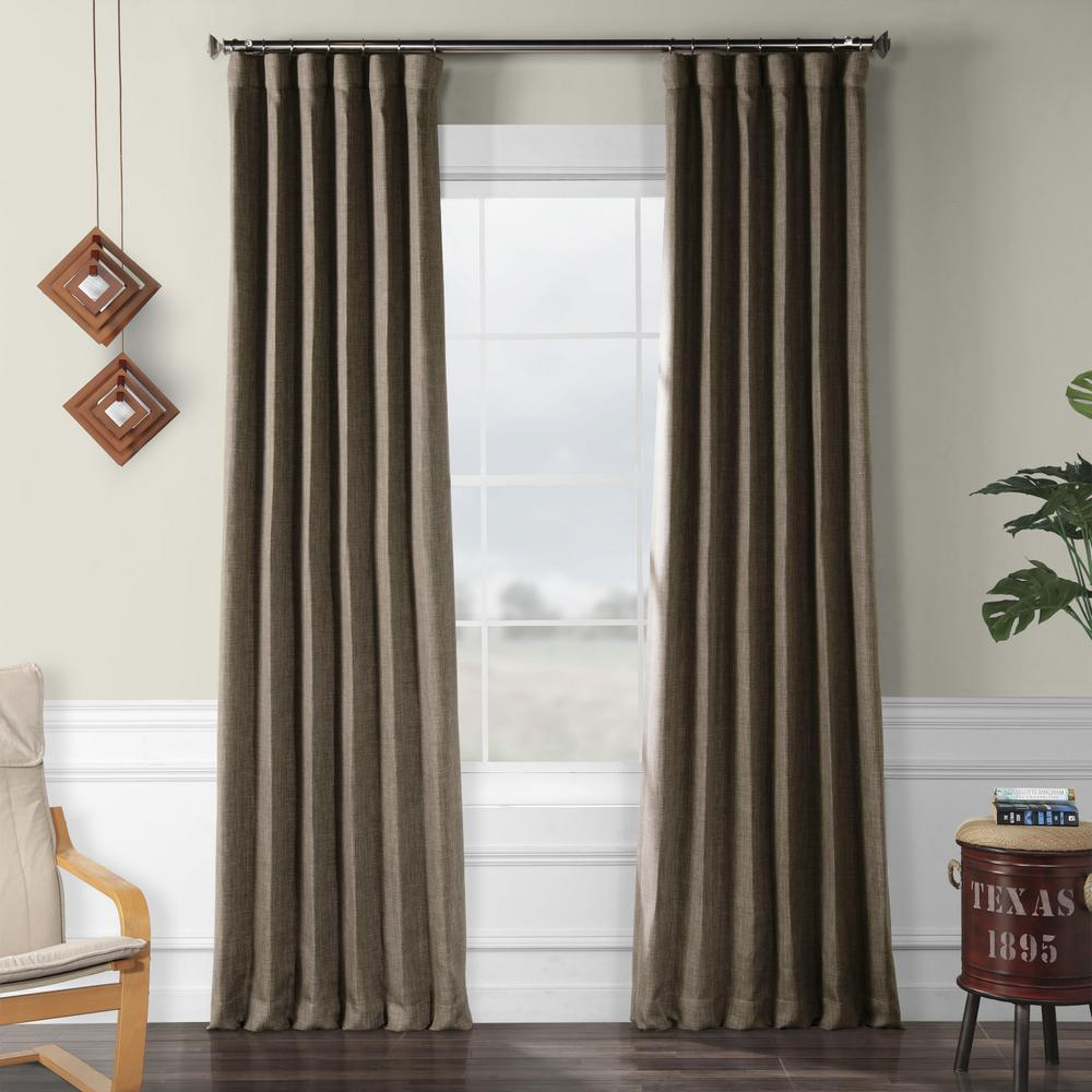 Exclusive Fabrics & Furnishings Dutch Cocoa Brown Faux Linen Blackout Curtain – 50 In. W X 96 In (View 6 of 20)