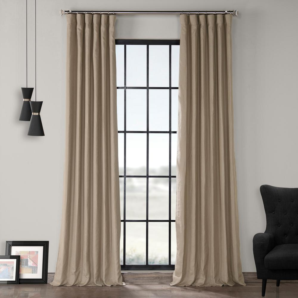 Exclusive Fabrics & Furnishings Flax Beige French Linen Curtain – 50 In. W X 108 In (View 2 of 20)