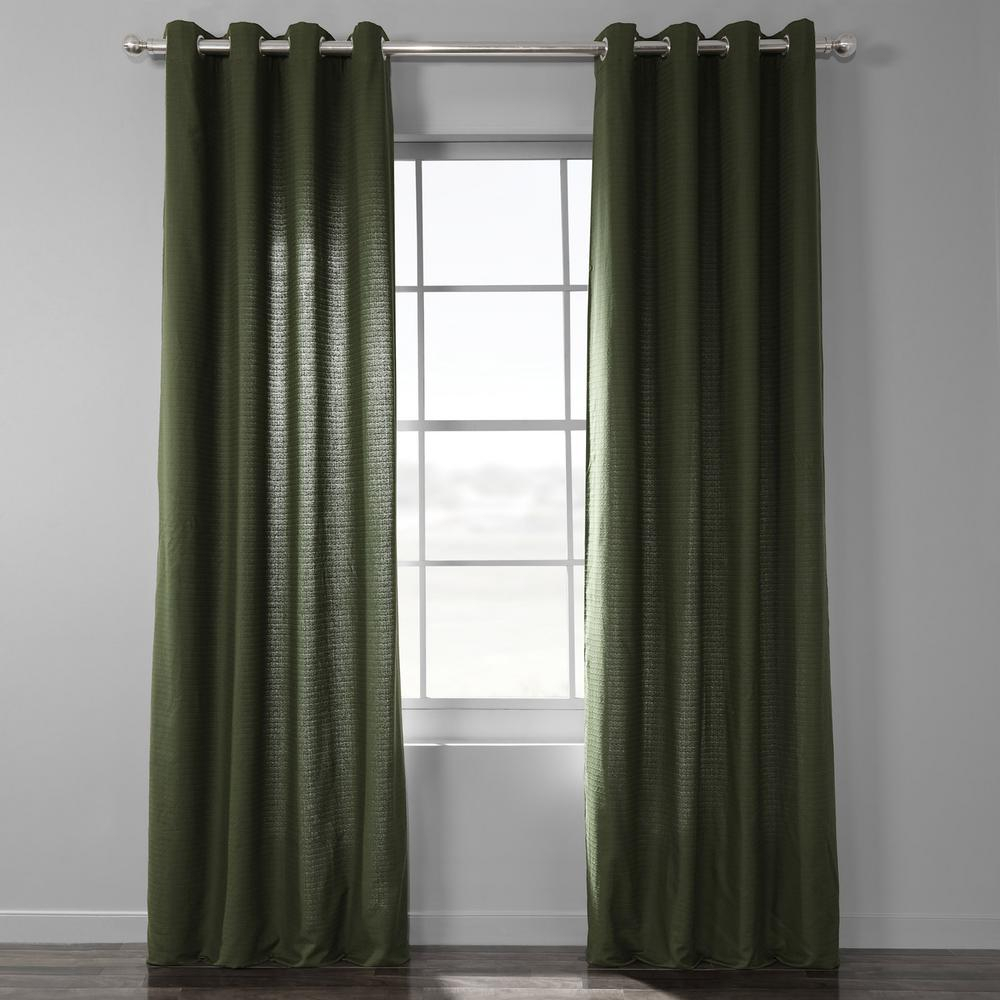 Exclusive Fabrics & Furnishings French Green Bark Weave Solid Cotton Grommet Curtain – 50 In. W X 84 In (View 7 of 20)