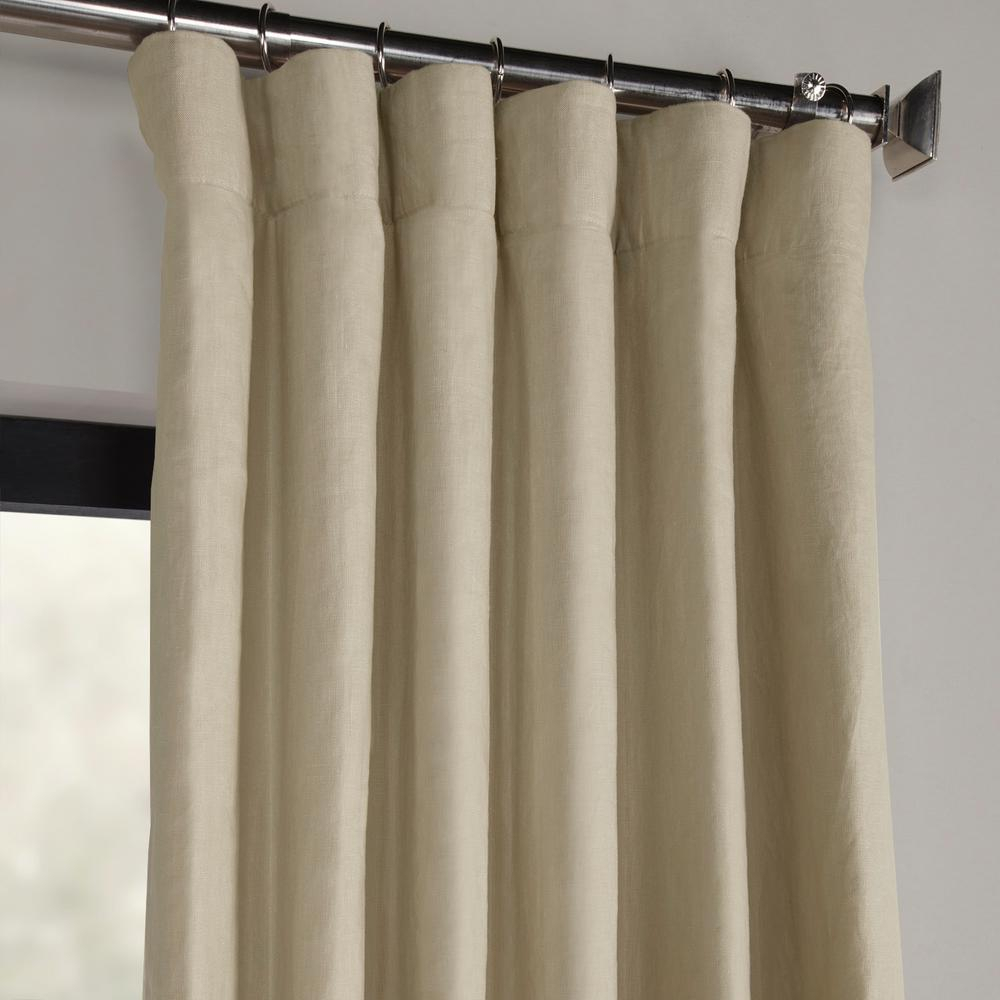 Exclusive Fabrics & Furnishings Fresh Khaki Brown French Linen Curtain – 50 In. W X 120 In (View 6 of 30)