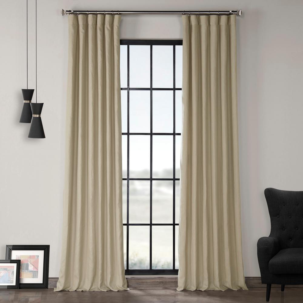 Exclusive Fabrics & Furnishings Fresh Khaki Brown French Linen Curtain – 50 In. W X 120 In (View 7 of 30)