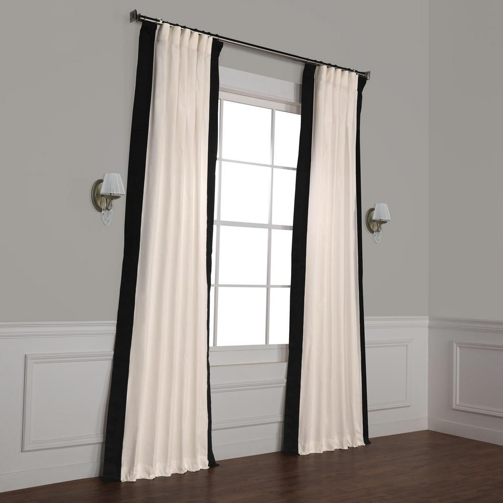 Exclusive Fabrics & Furnishings Fresh Popcorn And Black Room Darkening Vertical Colorblock Curtain – 50 In. W X 120 In (View 7 of 30)