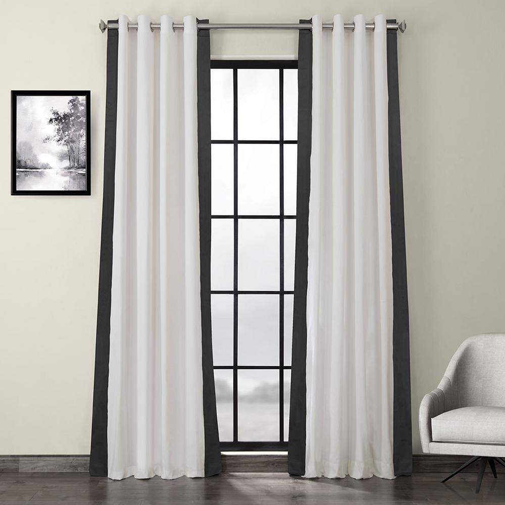Exclusive Fabrics & Furnishings Fresh Popcorn And Millstone Gray Room Darkening Grommet Vertical Colorblock Curtain – 50 In. W X 96 In (View 12 of 30)