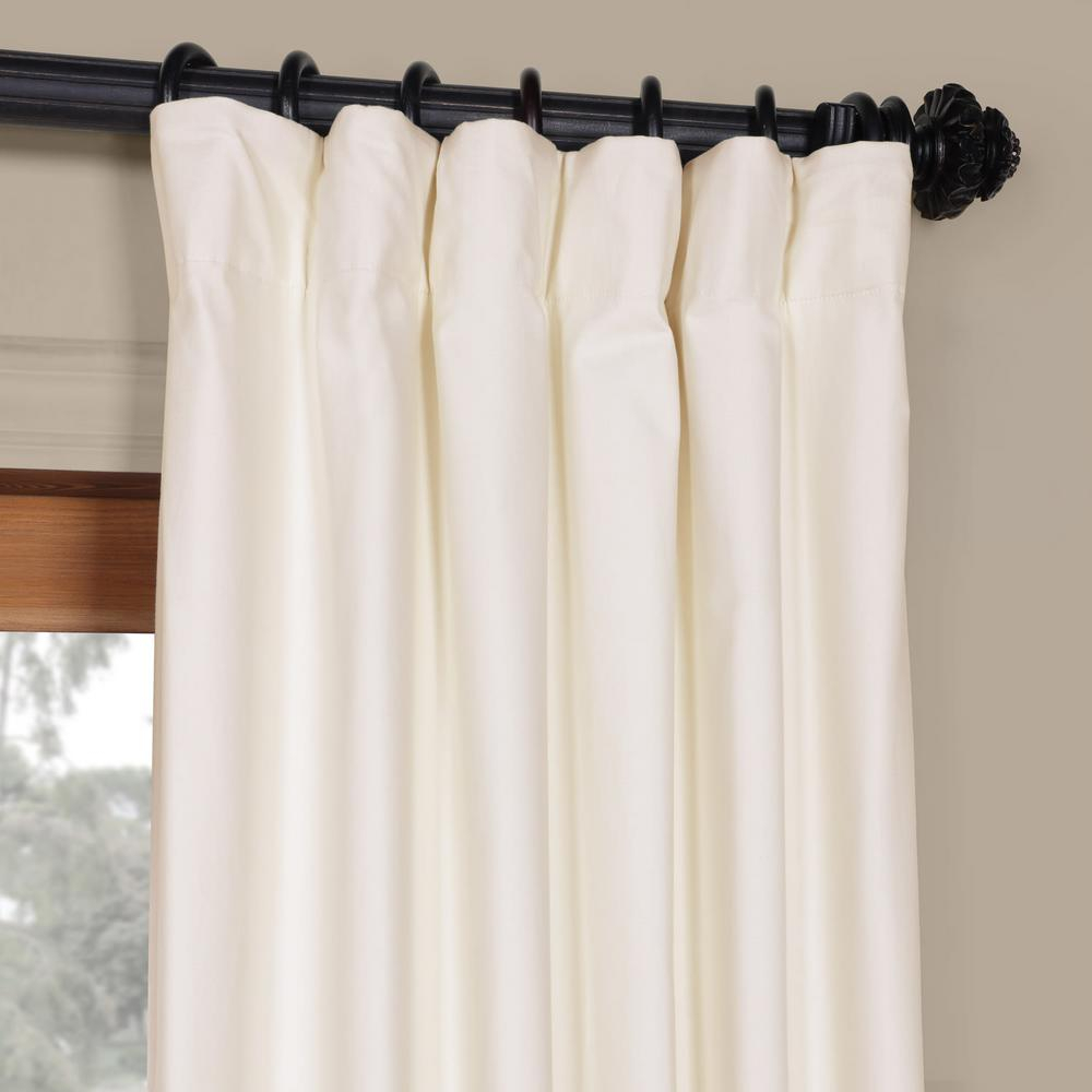 Exclusive Fabrics & Furnishings Fresh Popcorn Ivory Solid Cotton Blackout Curtain – 50 In. W X 84 In (View 5 of 30)