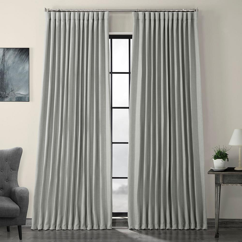 Exclusive Fabrics & Furnishings Heather Gray Faux Linen Extra Wide Blackout Curtain – 100 In. W X 84 In (View 4 of 20)