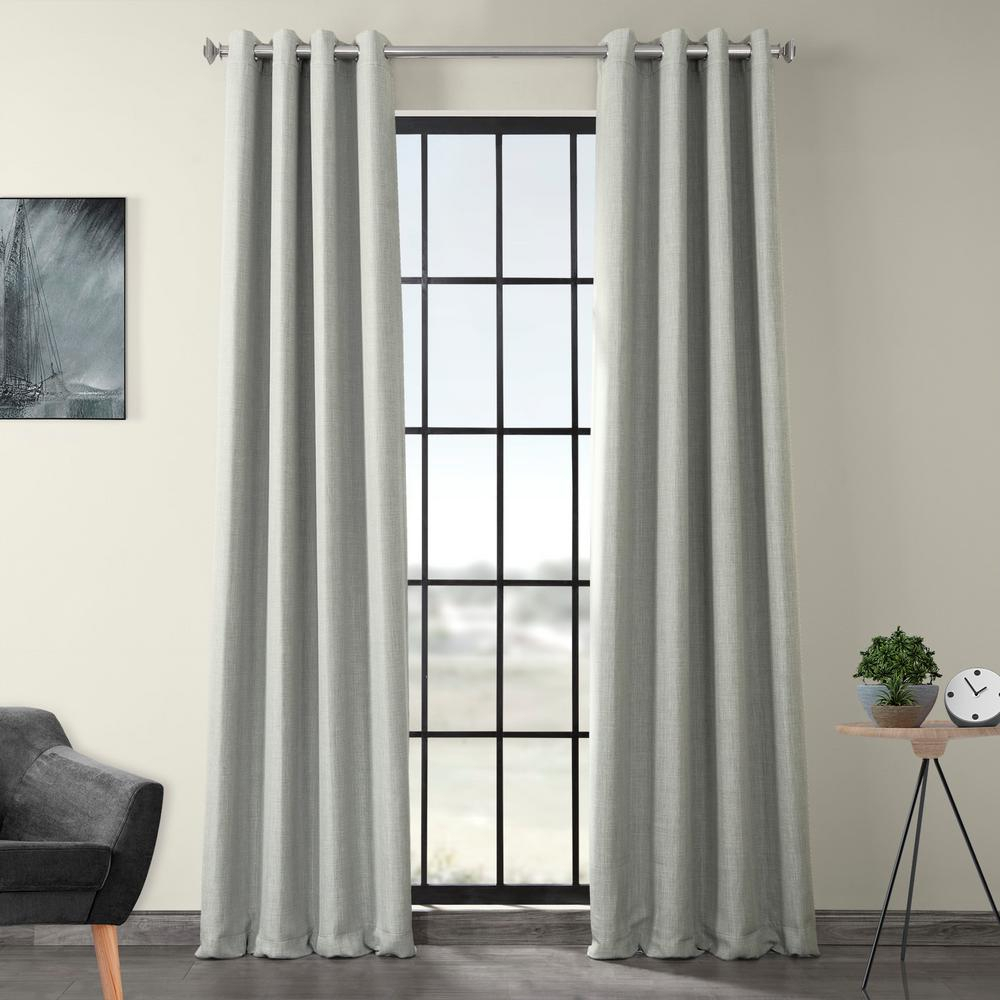 Exclusive Fabrics & Furnishings Heather Gray Faux Linen Grommet Blackout Curtain – 50 In. W X 108 In (View 9 of 20)