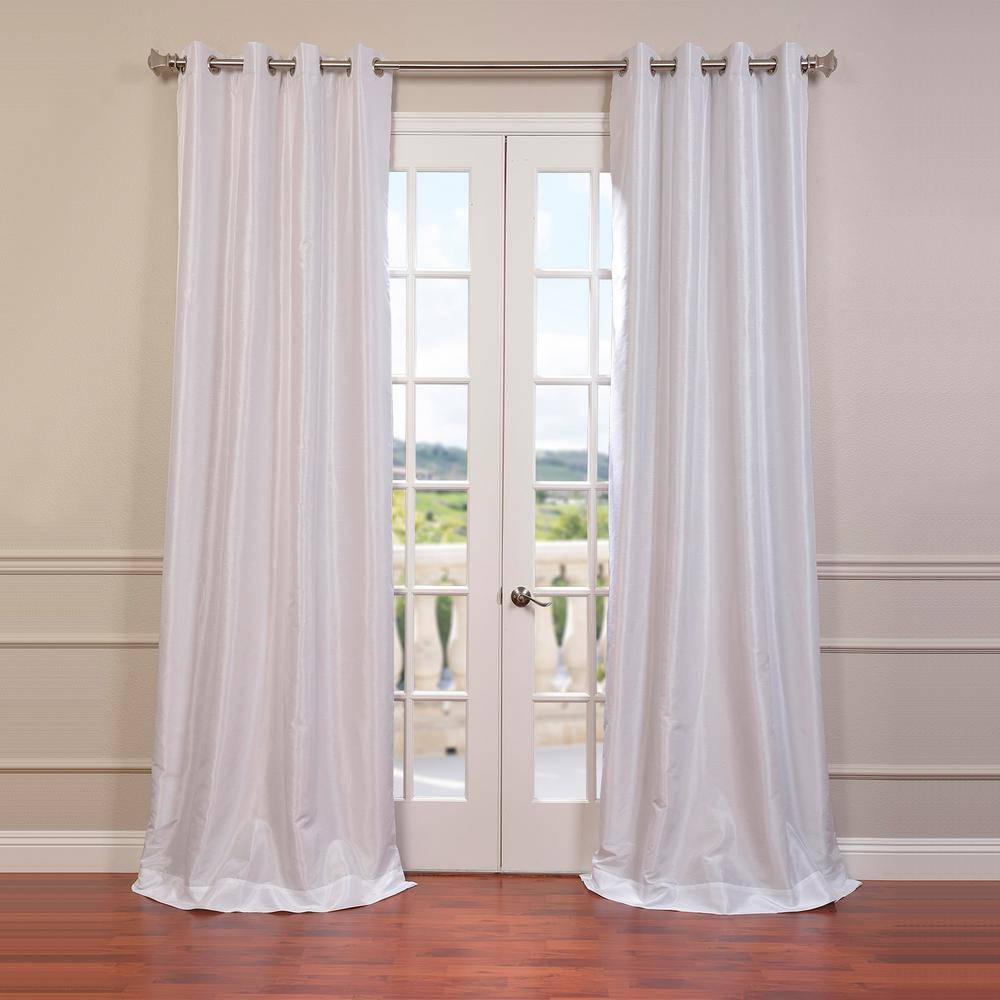 Exclusive Fabrics & Furnishings Ice White Grommet Blackout Vintage Textured Faux Dupioni Silk Curtain – 50 In. W X 108 In (View 7 of 20)