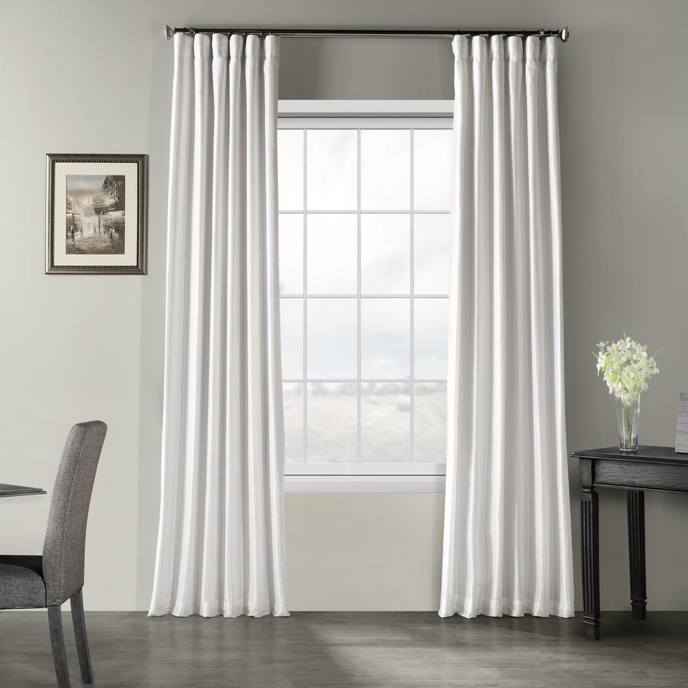 Exclusive Fabrics & Furnishings Ice White Vintage Textured Faux Dupioni Silk Light Filtering Curtain – 50 In. W X 84 In (View 5 of 20)